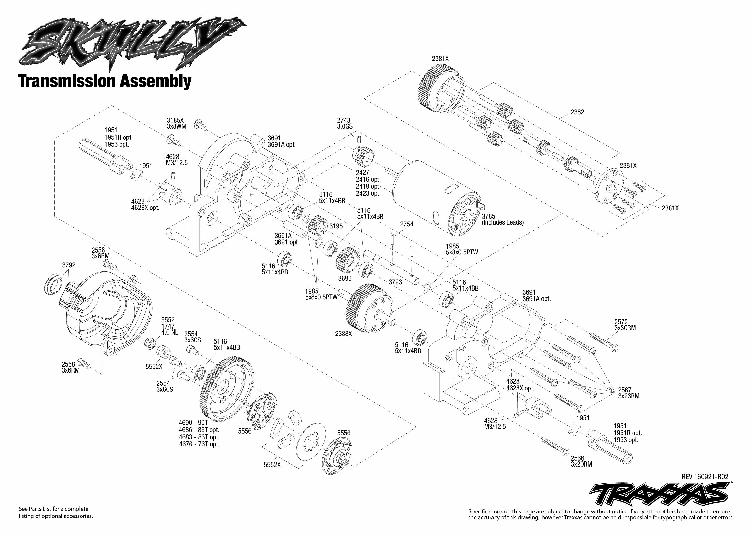 traxxas t maxx 2 5 transmission diagram ls1 starter wiring skully 36064 1 assembly exploded view
