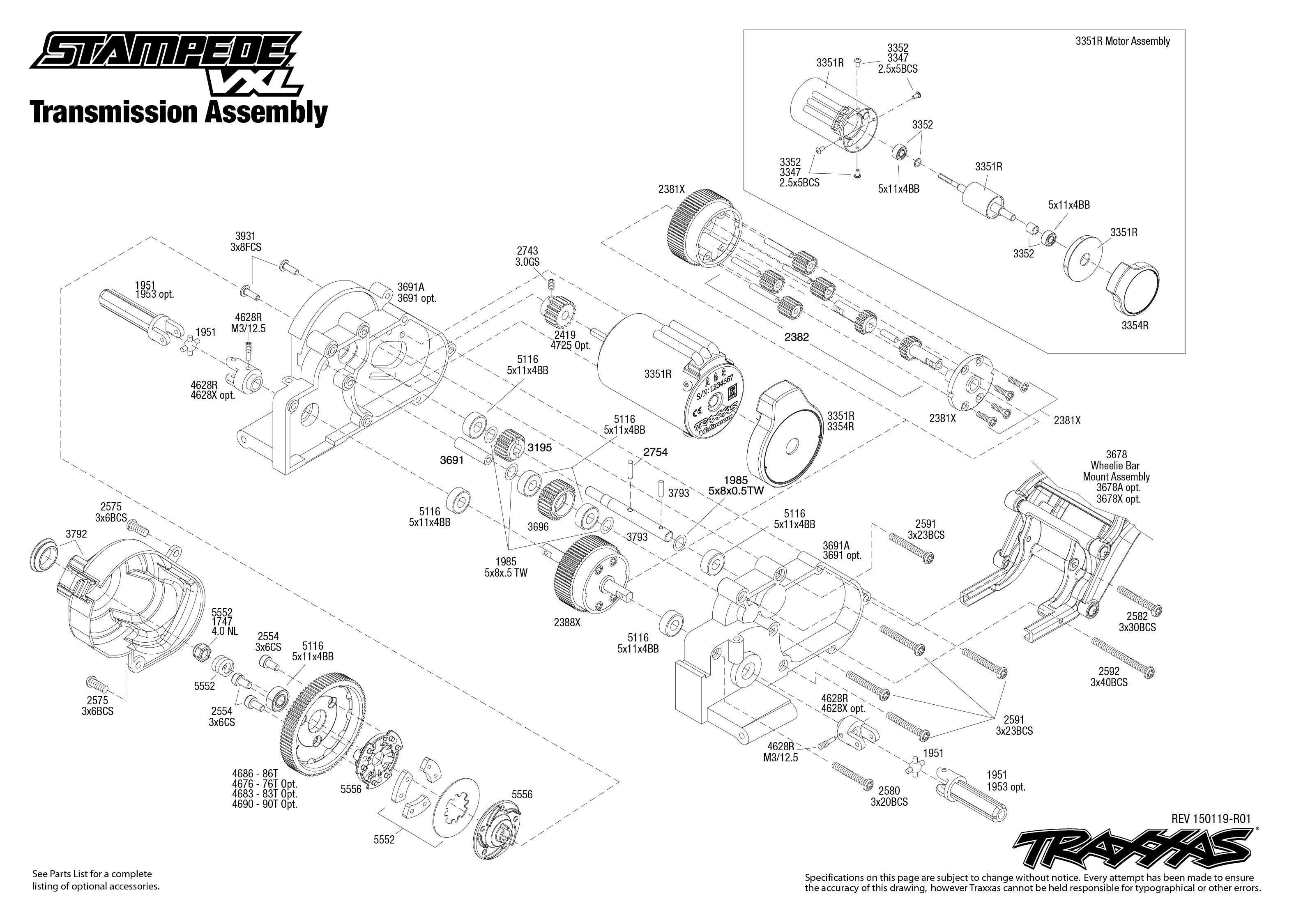 Stampede VXL (36076-1) Transmission Assembly Exploded View