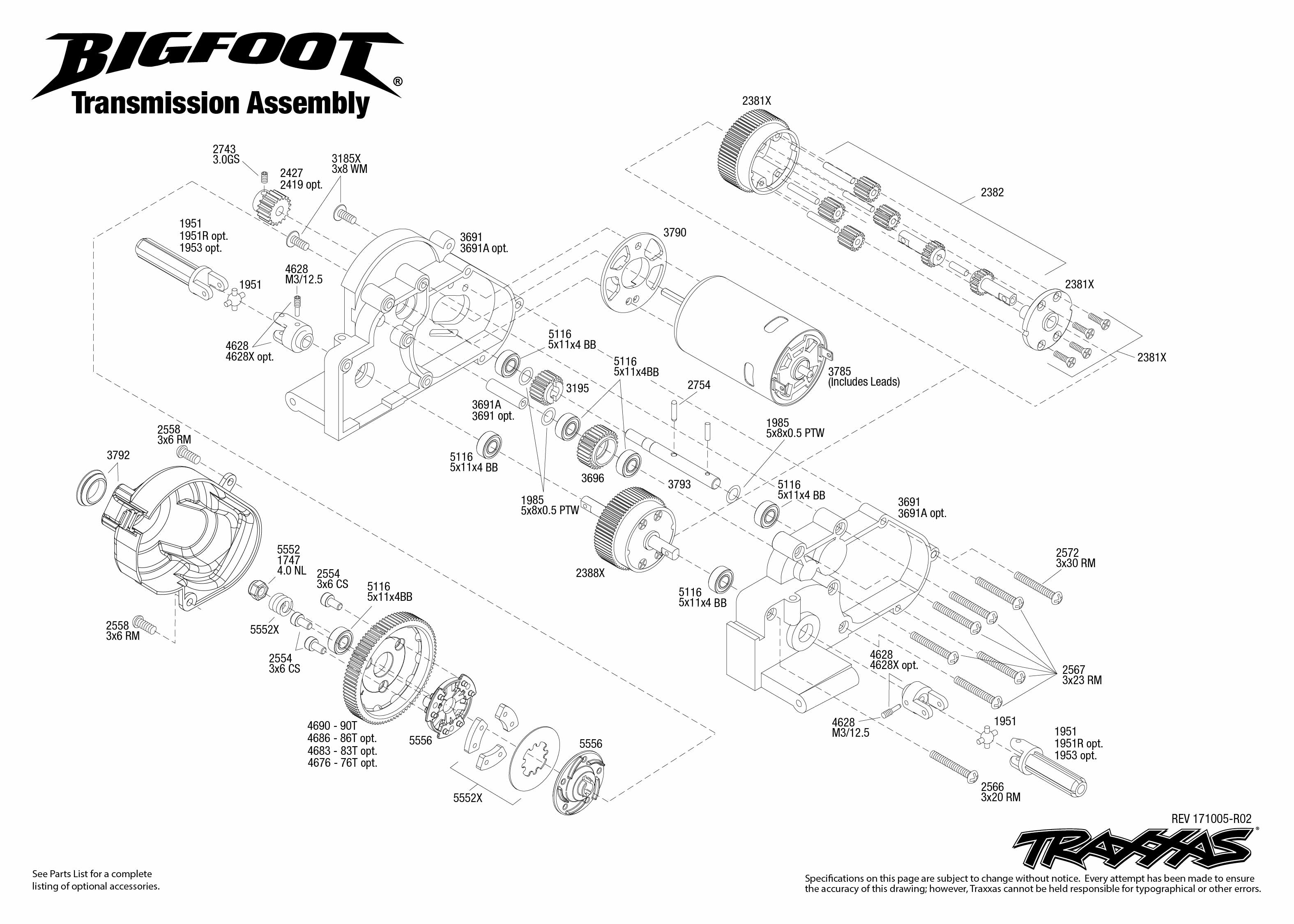 Bigfoot 1 Transmission Assembly Exploded View