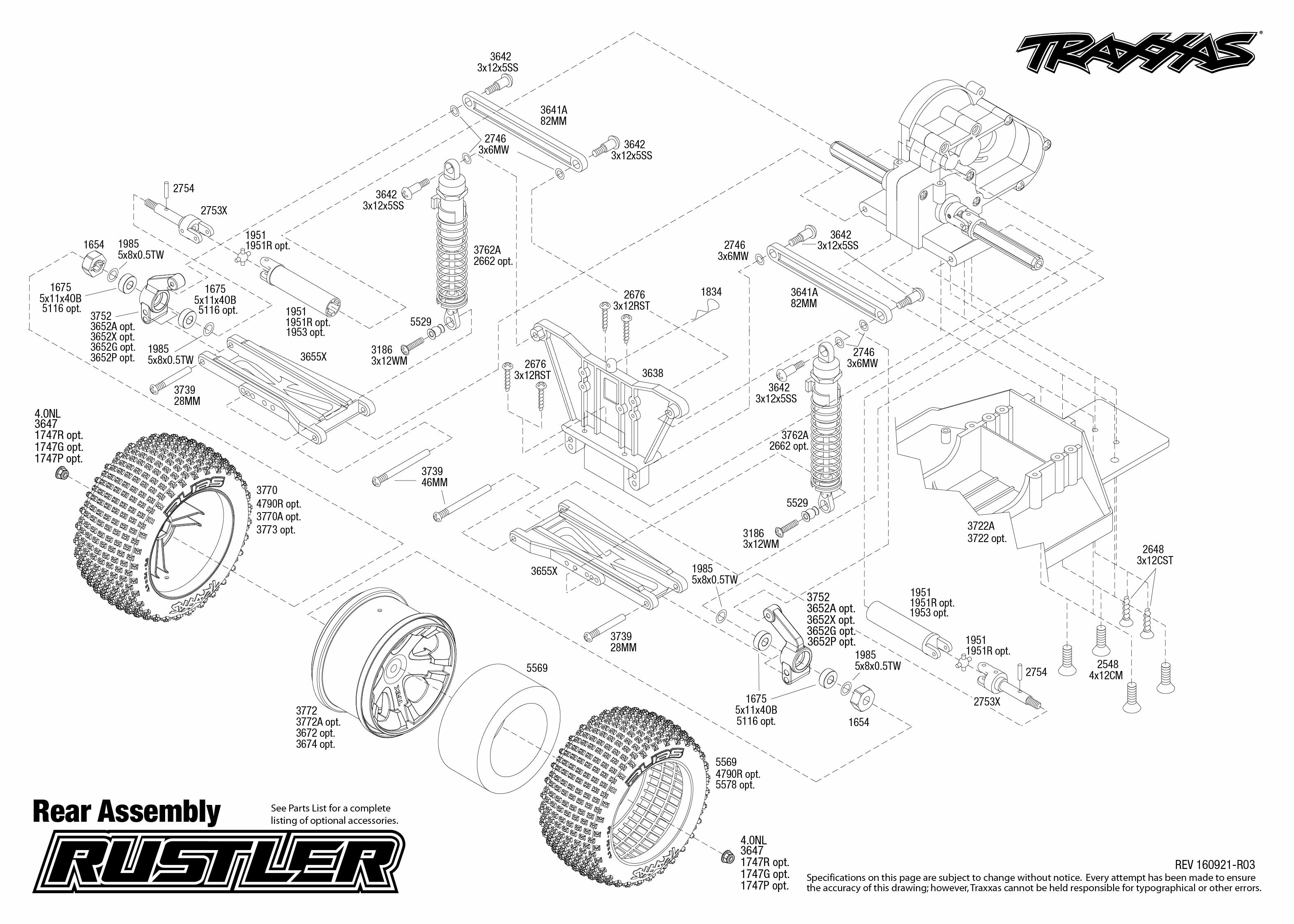 Rustler 1 Rear Assembly Exploded View