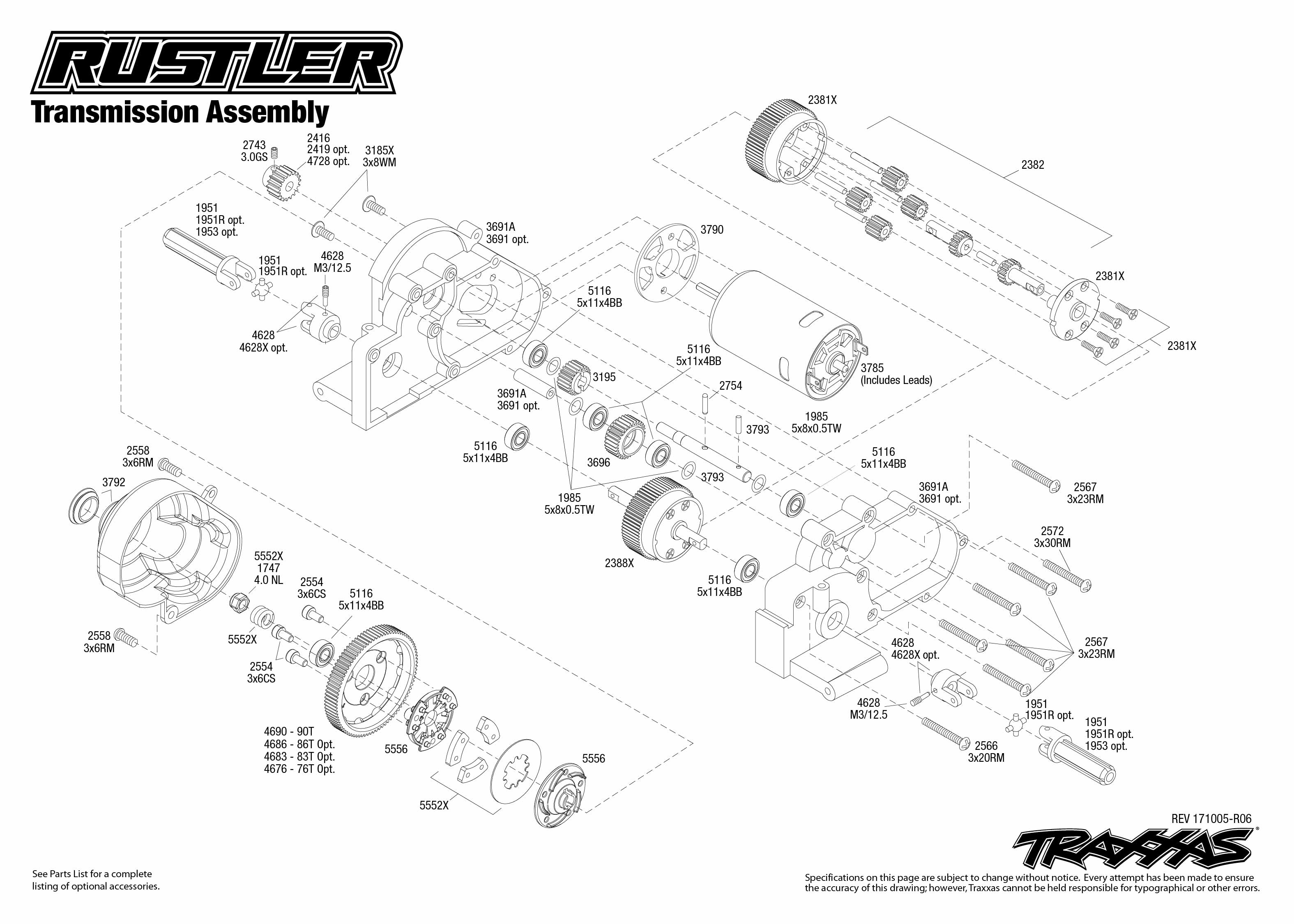 Rustler 1 Transmission Assembly Exploded View