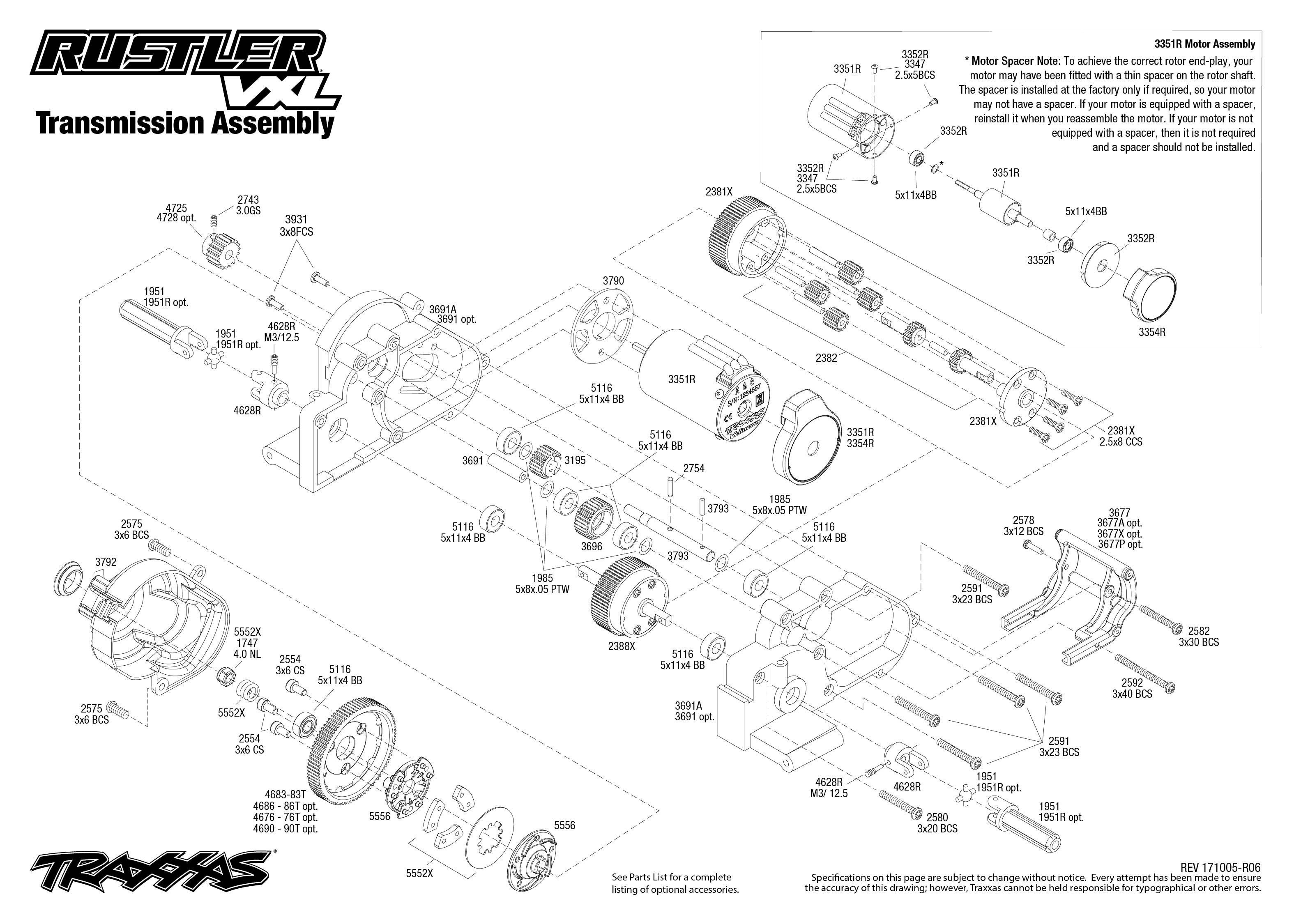 Rustler VXL (37076-3) Transmission Assembly Exploded View