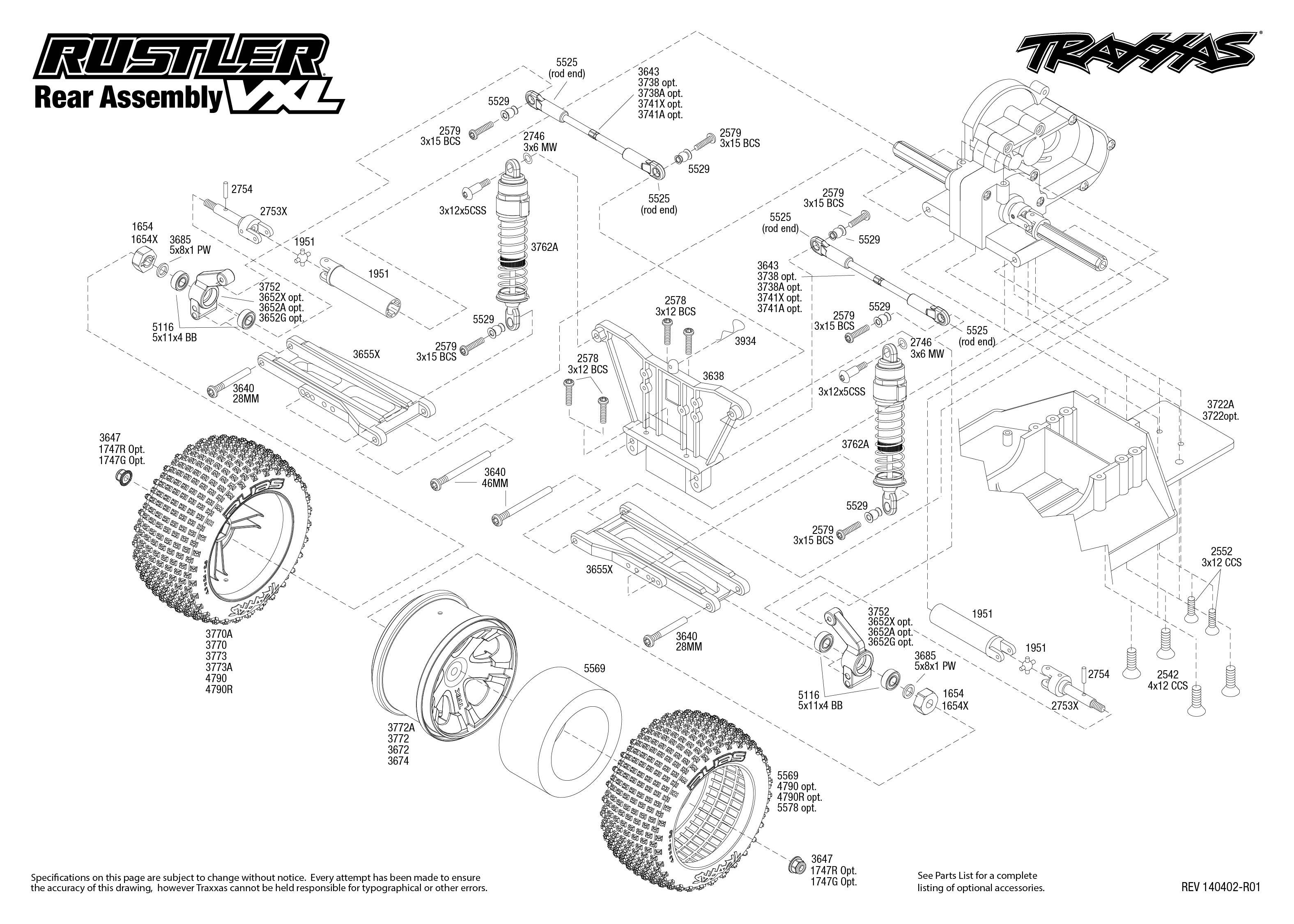 Rustler Vxl Rear Assembly