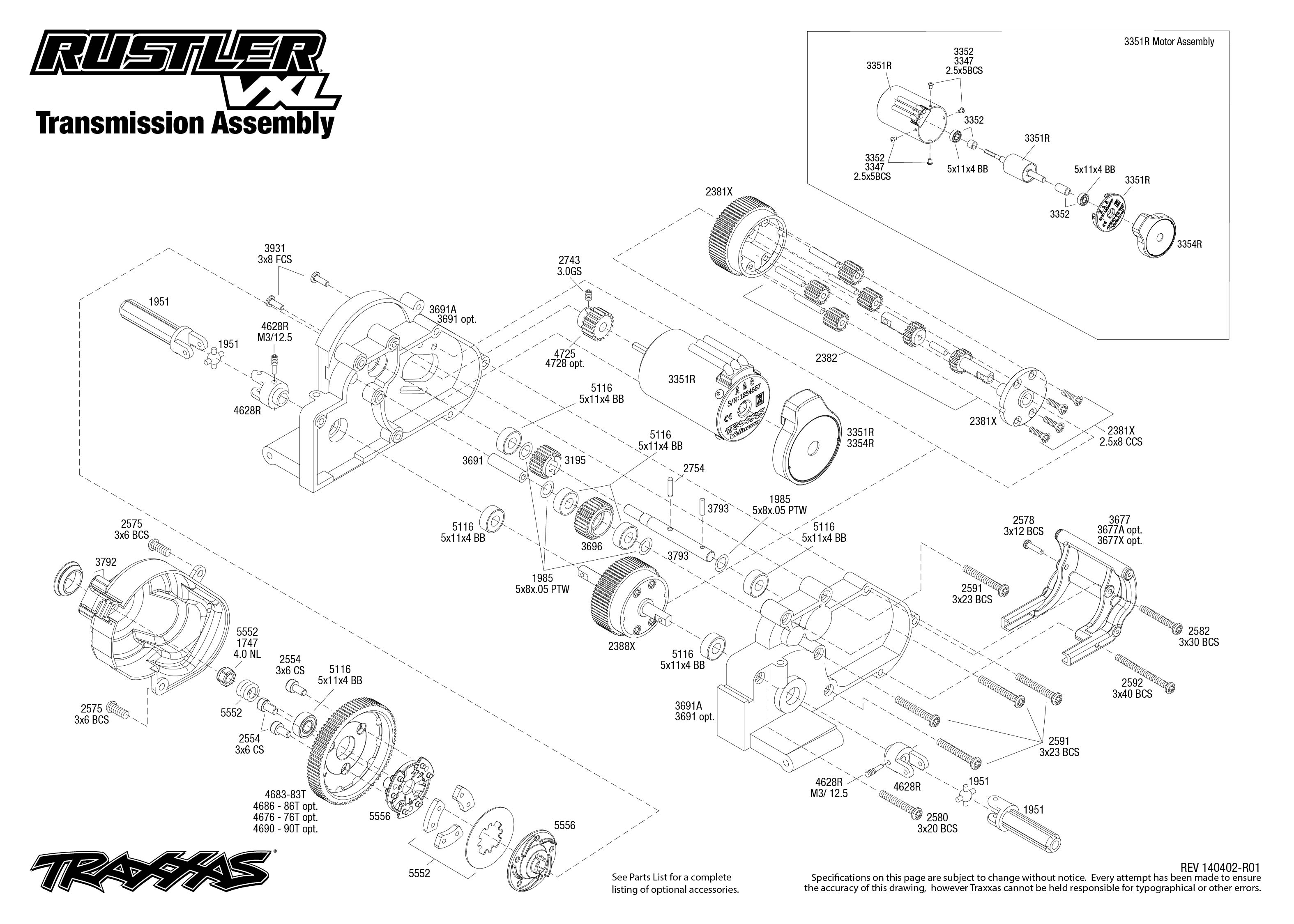Rustler Vxl Transmission Assembly