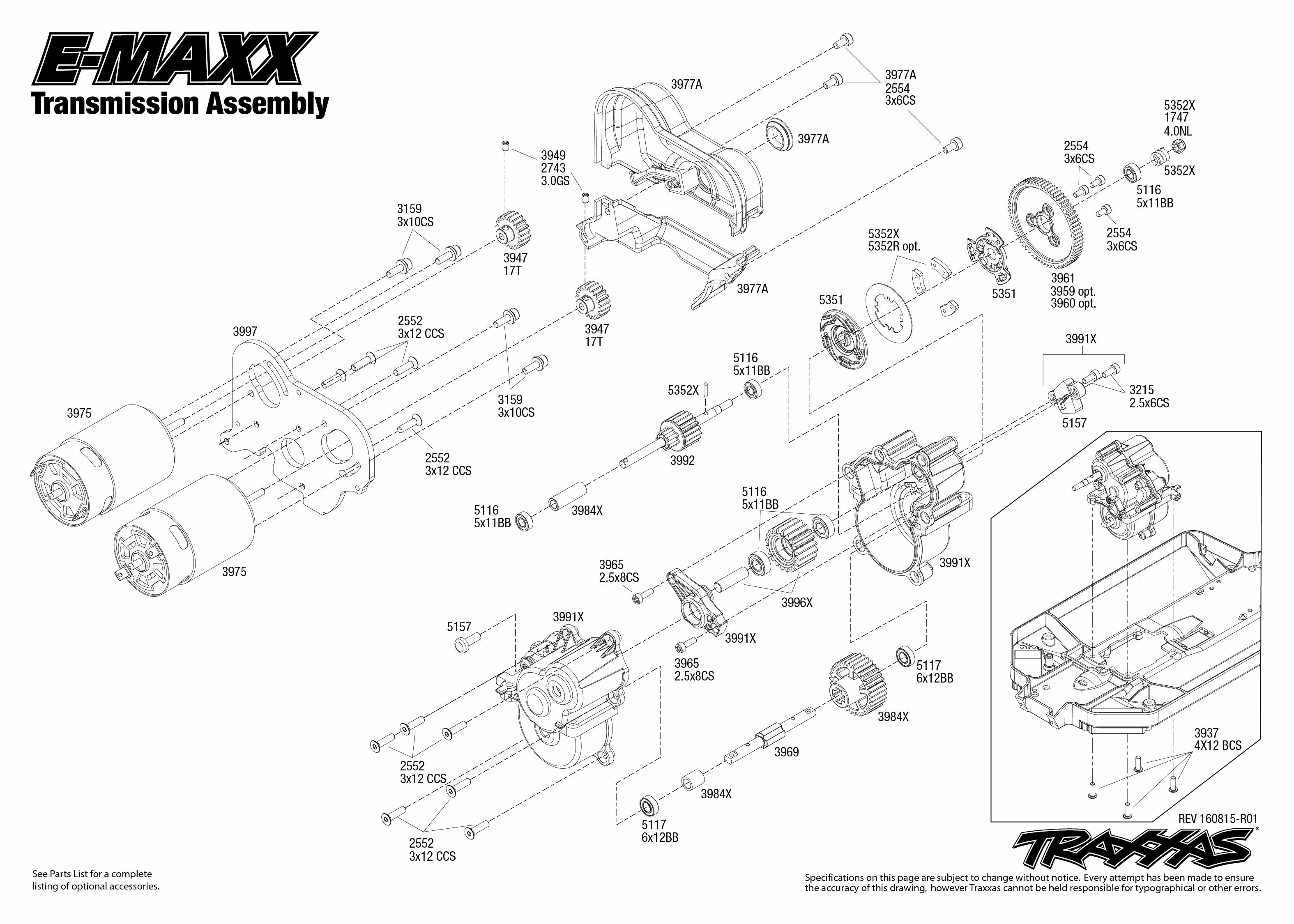 E Maxx 1 Transmission Assembly Exploded View