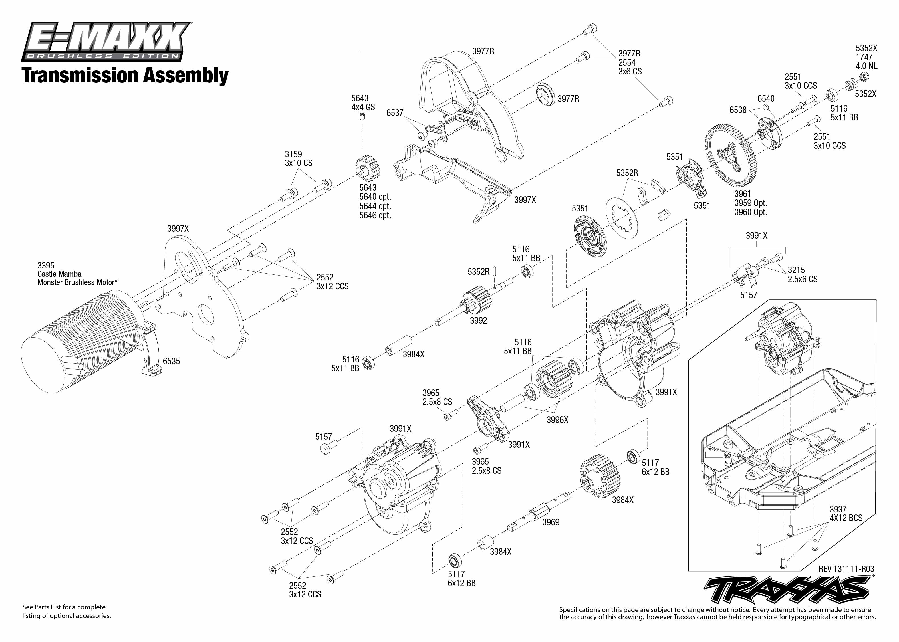 3908 Transmission Exploded Views (E-Maxx Brushless, w/ TQi