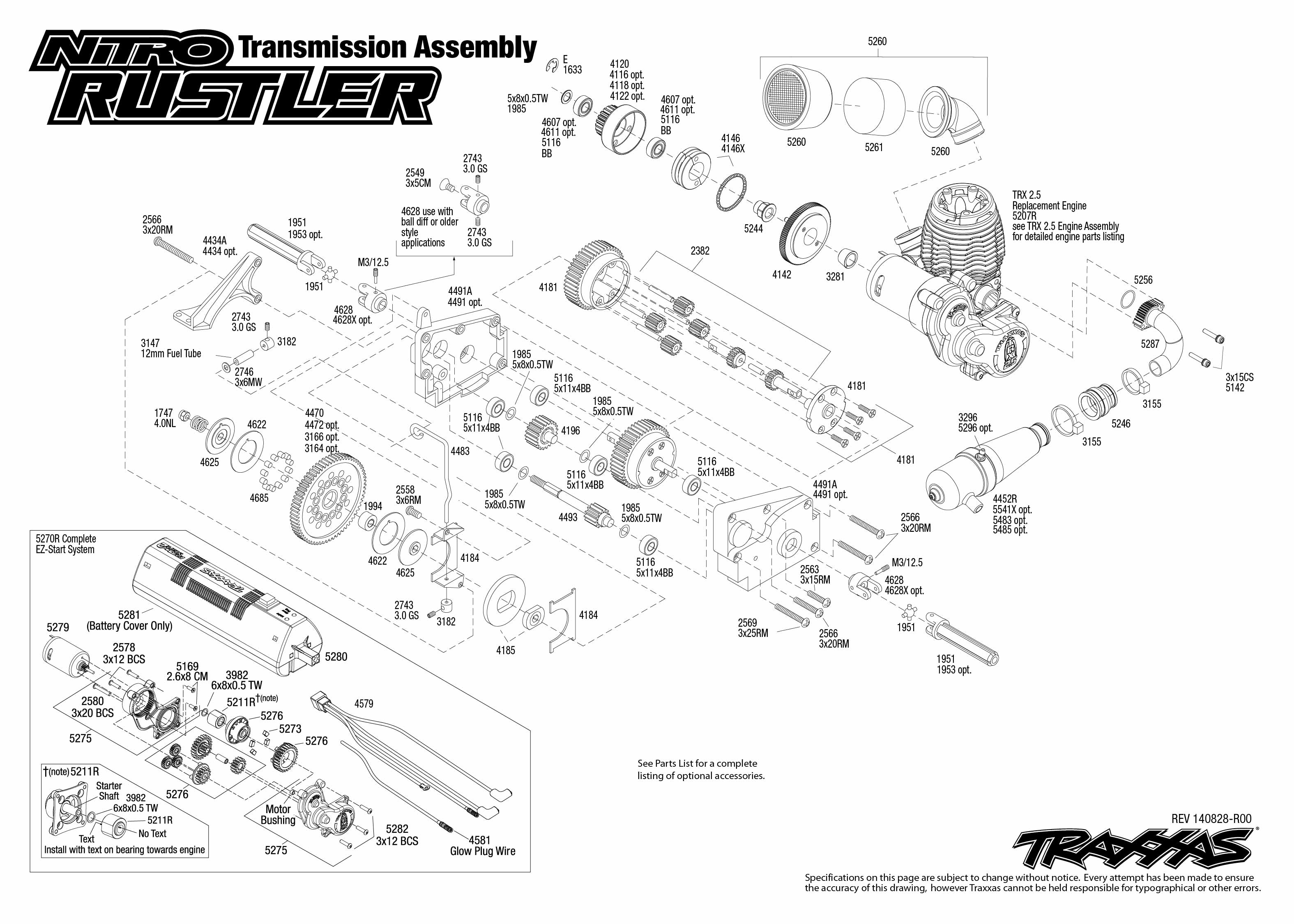 Nitro Rustler (44094-1) Transmission Assembly Exploded