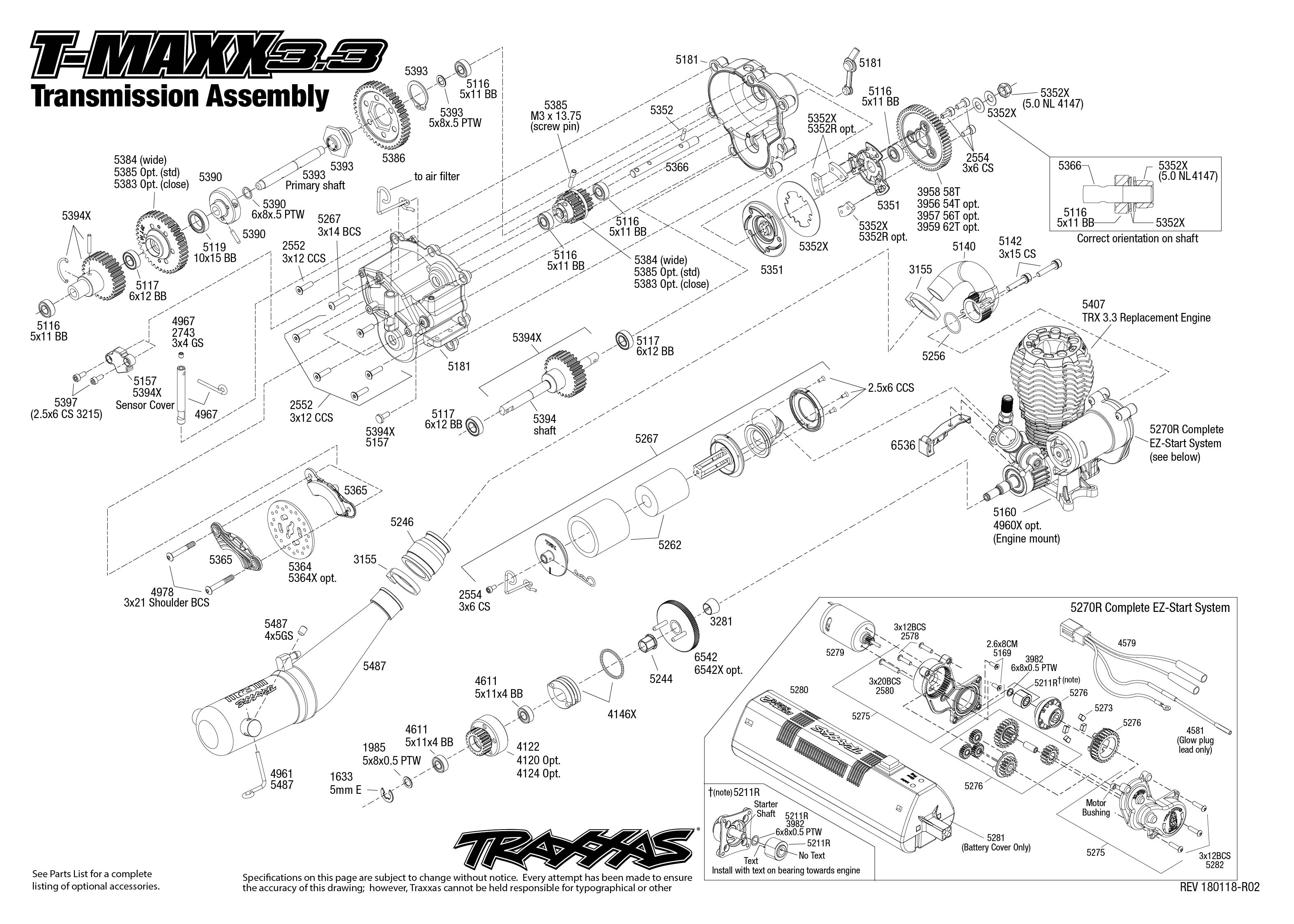 T-Maxx 3.3 (49077-3) Transmission Assembly Exploded View