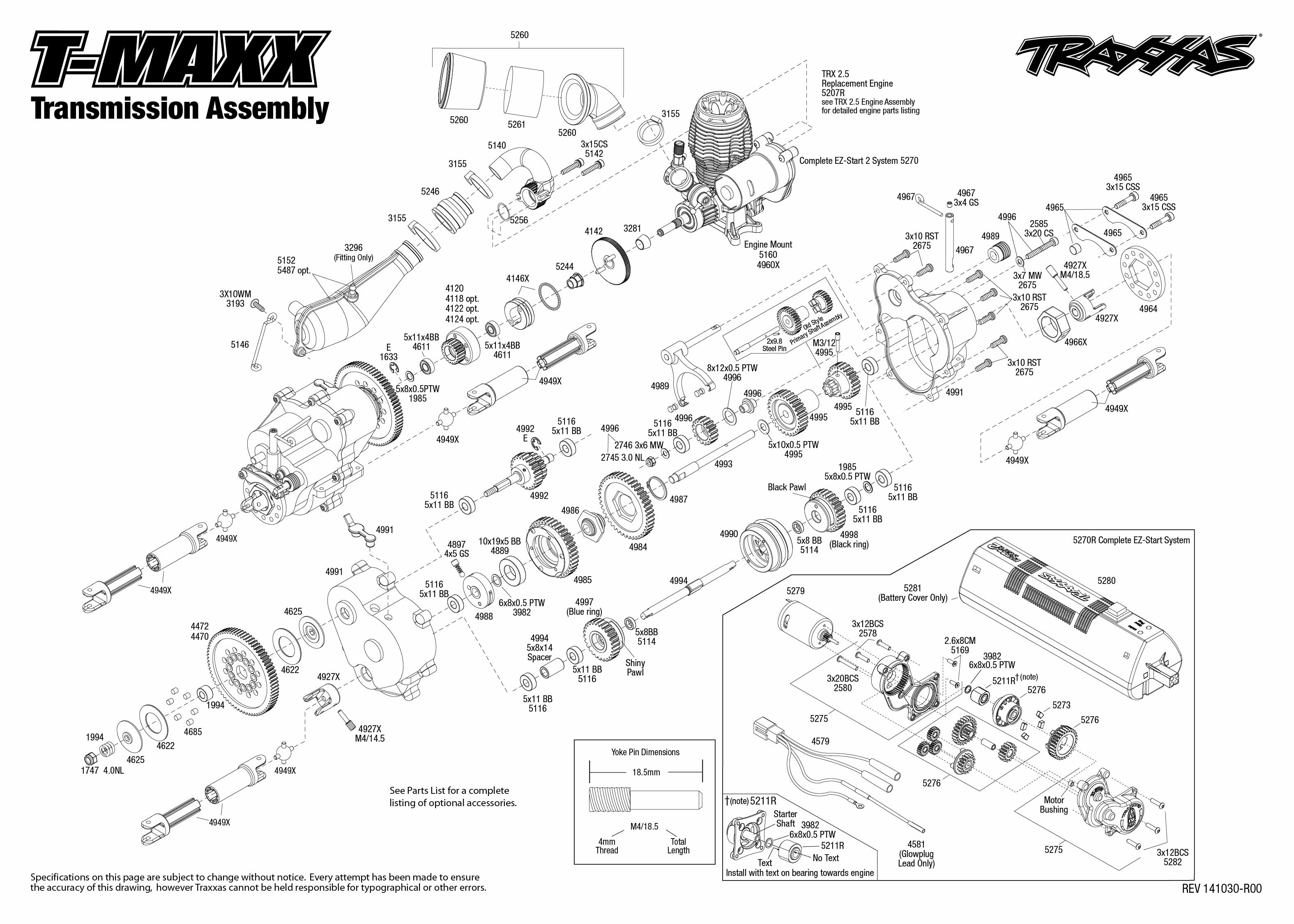 traxxas t maxx 2 5 transmission diagram 1983 chevy c10 radio wiring 49104 1 assembly exploded view