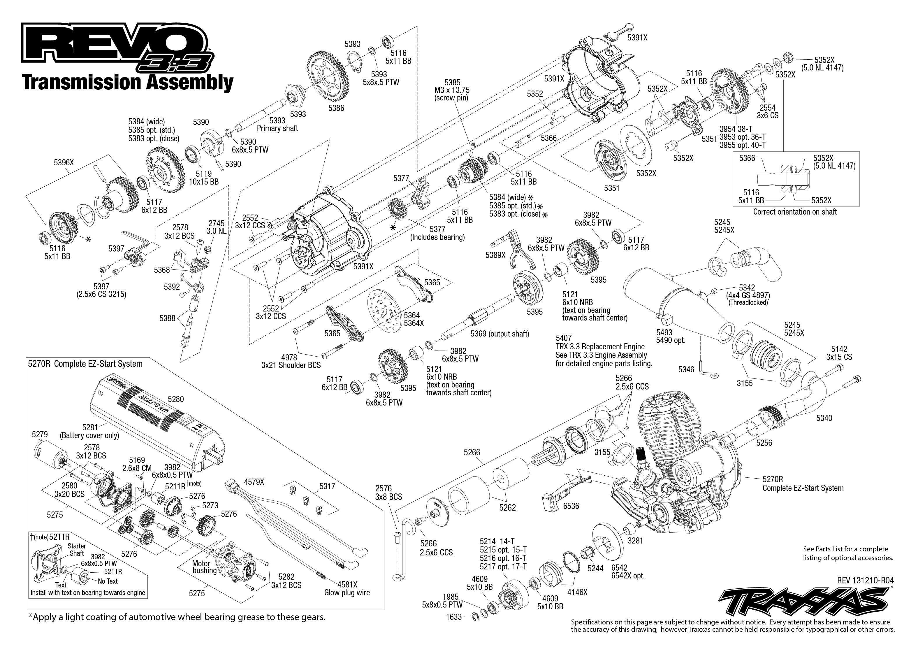 traxxas revo 3 parts diagram dta s40 wiring 5309 transmission exploded view w tqi 2 4ghz
