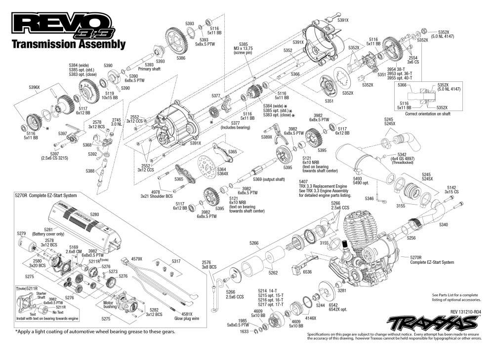 medium resolution of 5309 transmission exploded view revo 3 3 w tqi 2 4ghz docking rh traxxas com ez start system traxxas easy start system