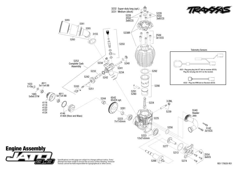 medium resolution of jato 3 3 55077 3 engine assembly exploded view traxxas rh traxxas com