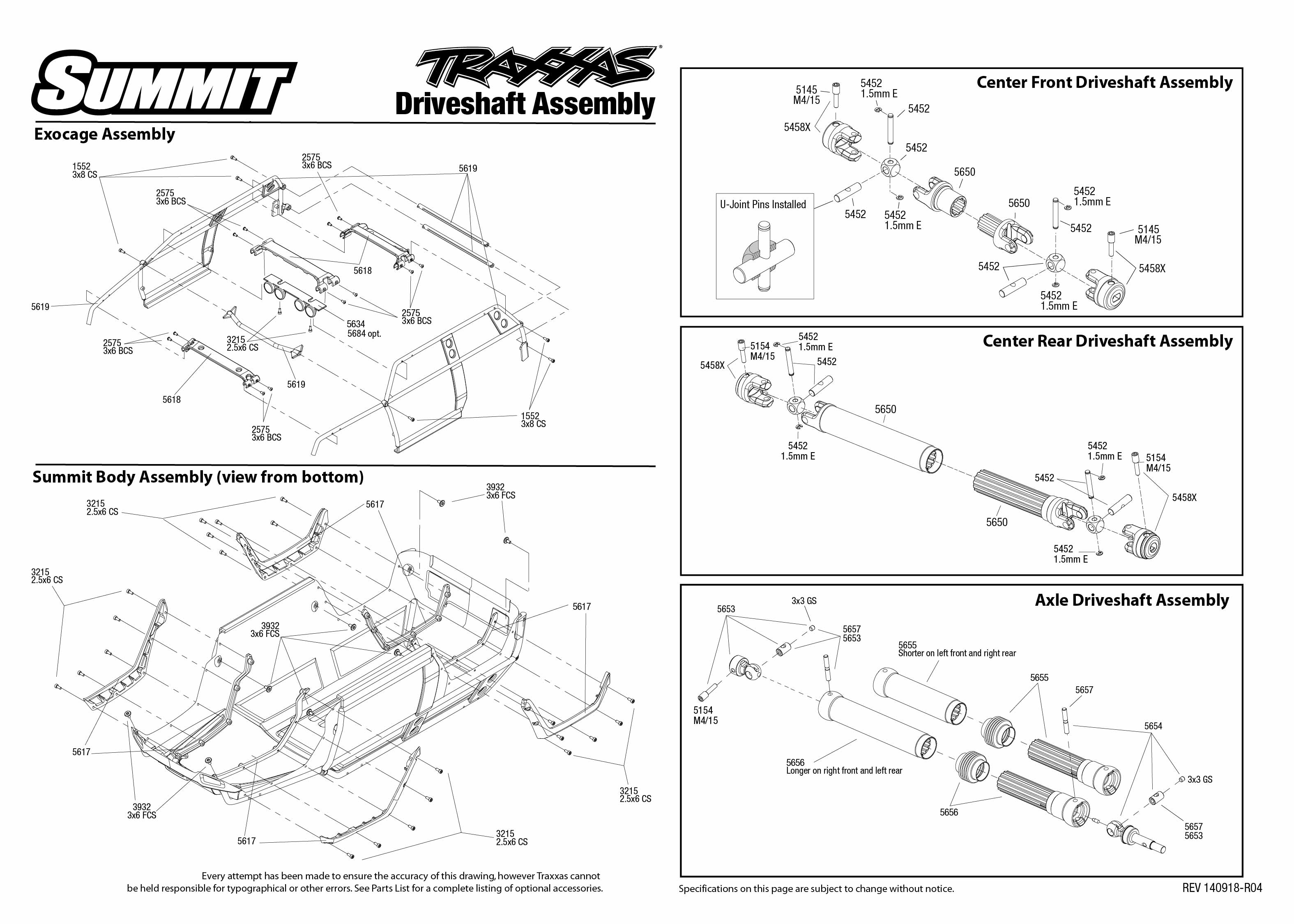 5607 Driveshafts Exploded View (Summit, with TQi 2.4GHz