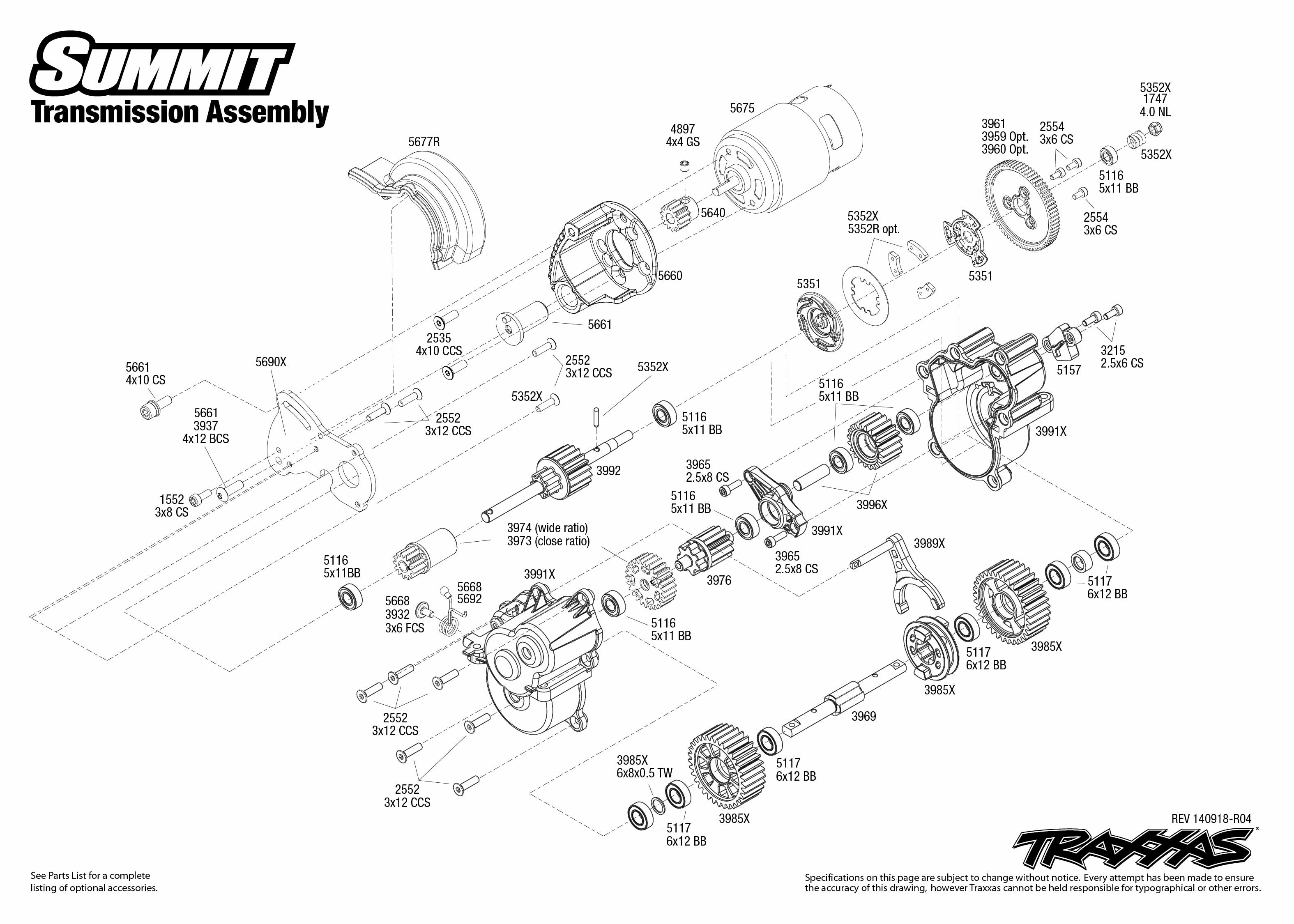 5607 Transmission Exploded View (Summit, with TQi 2.4GHz