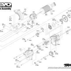 Traxxas Revo 3 Parts Diagram Wiring For A Starter Solenoid E Brushless 56087 Transmission Assembly