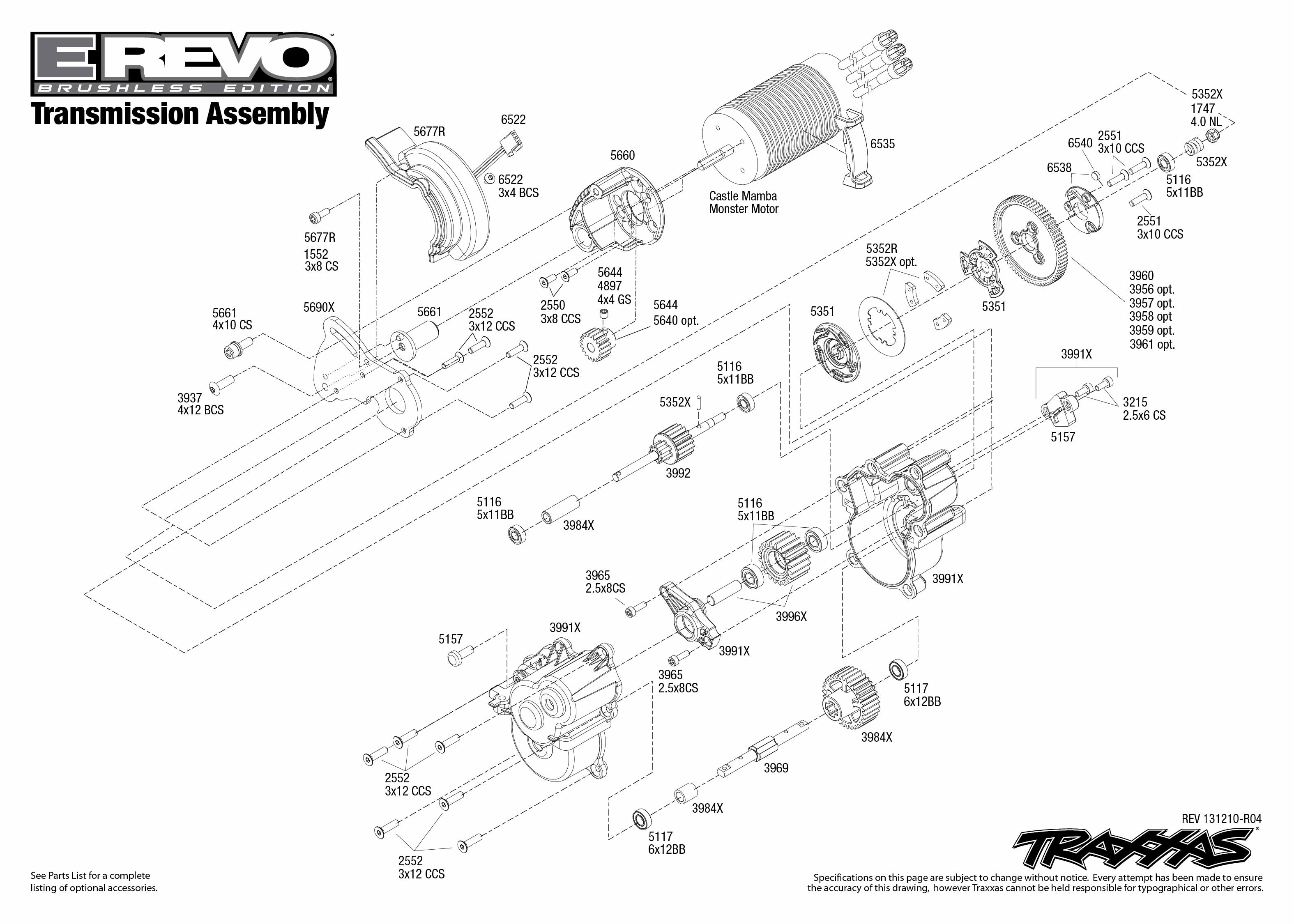 5608 Transmission Exploded View (E-Revo Brushless, w/ TQi