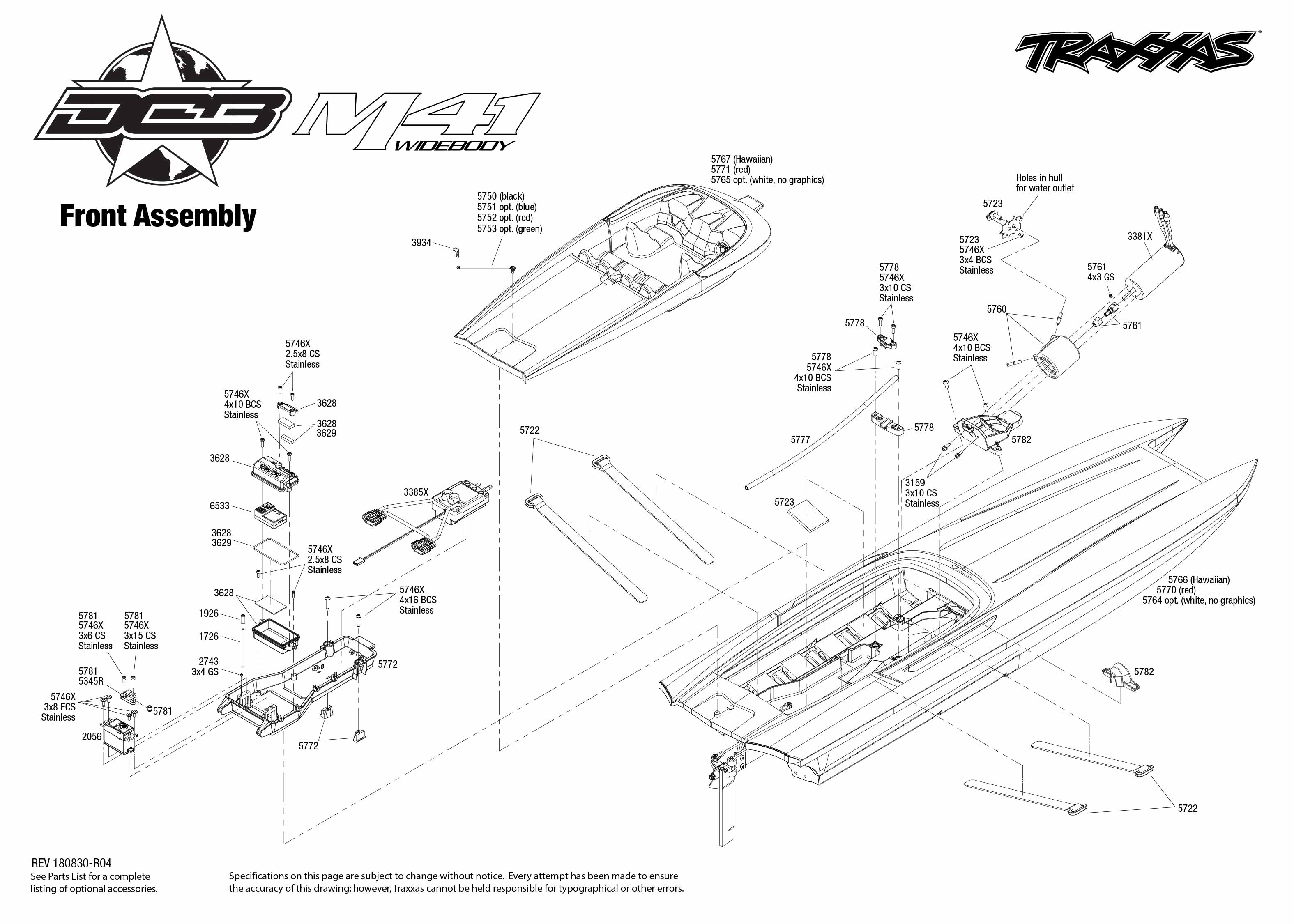 DCB M41 Widebody (57046-4) Front Assembly Exploded View