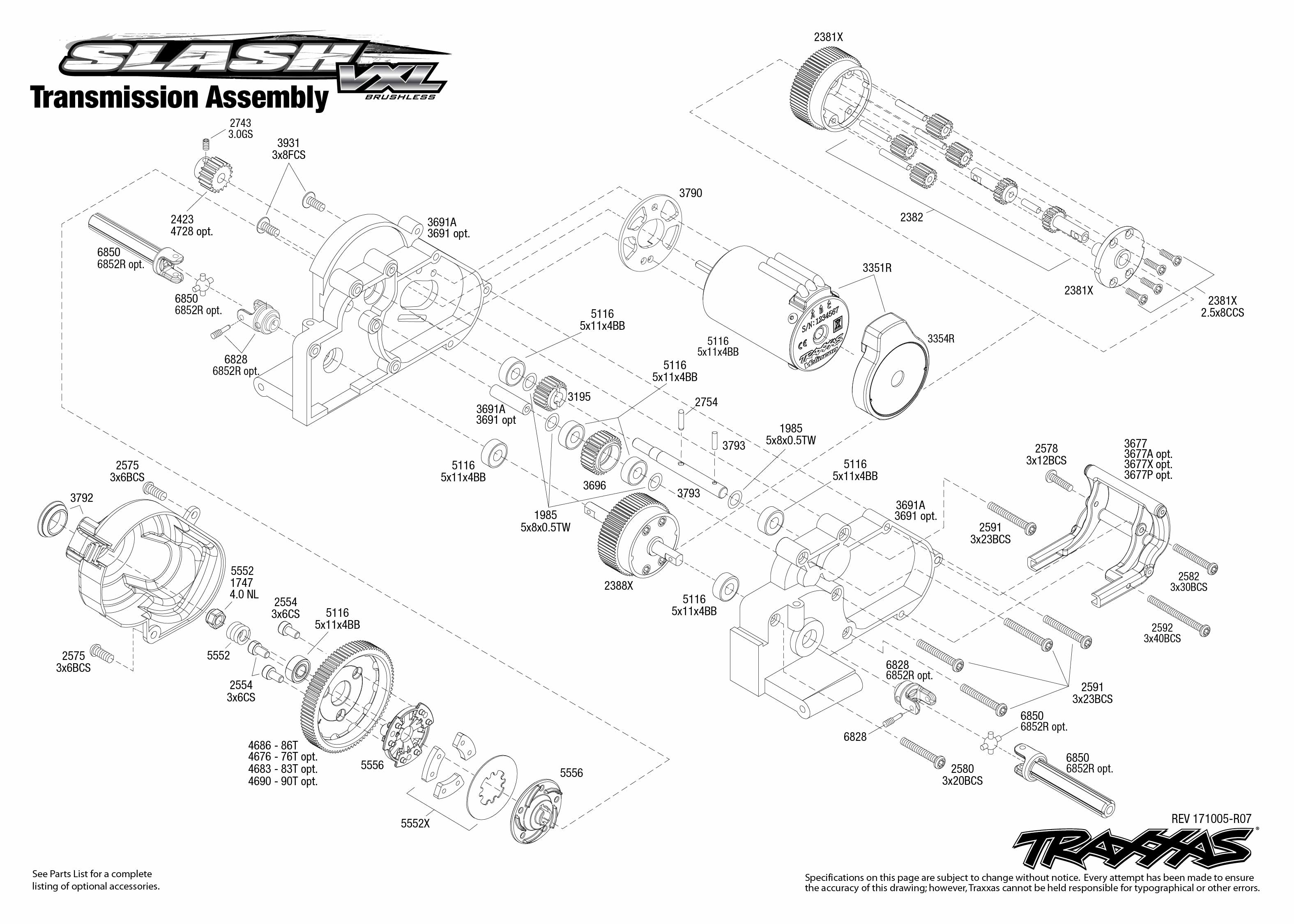 Slash VXL (58076-4) Transmission Assembly Exploded View