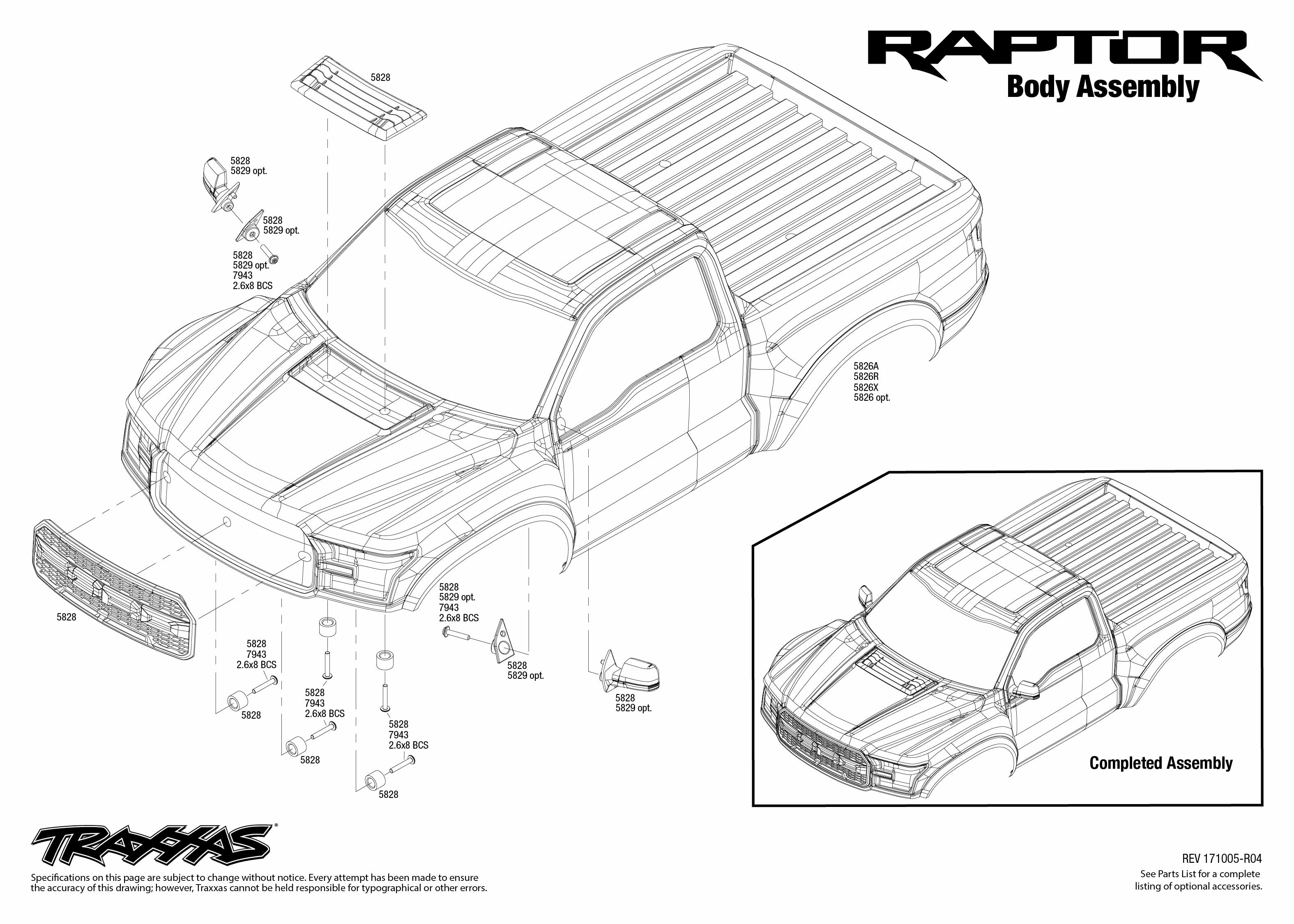 Ford F-150 Raptor (58094-1) Body Assembly Exploded View