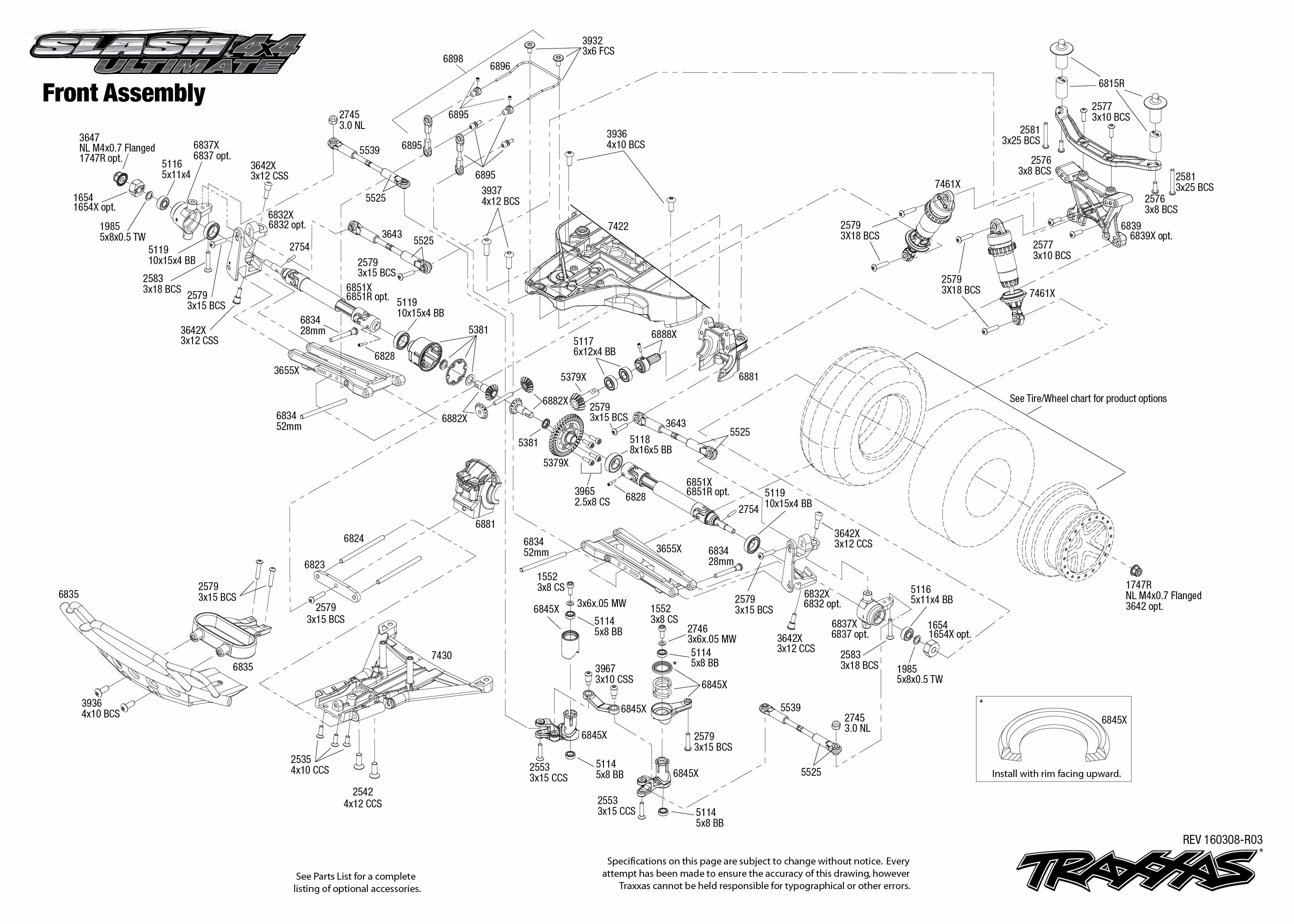 Slash 4X4 Ultimate (68077-1) Front Assembly Exploded View