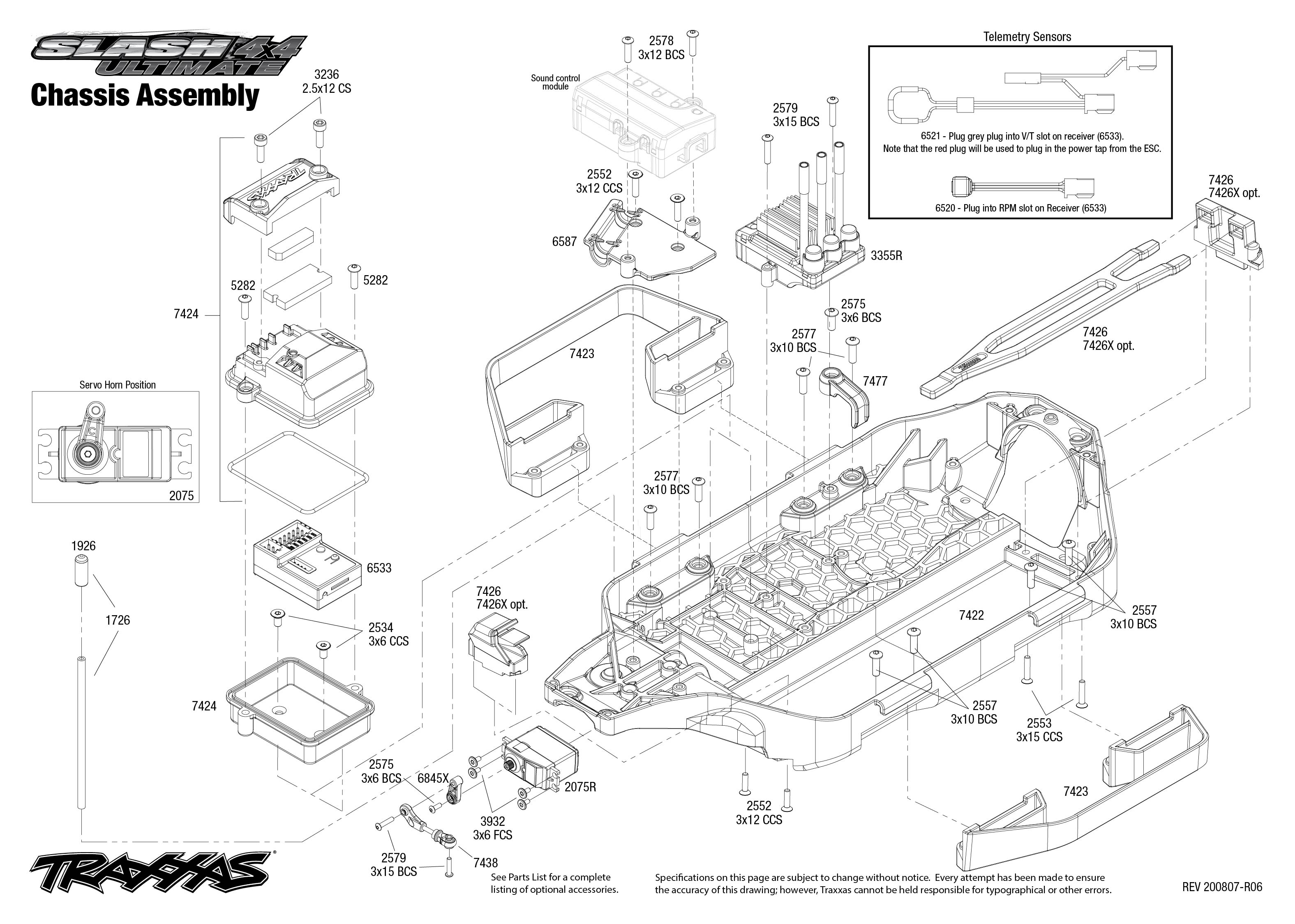Slash 4X4 Ultimate (68077-24) Chassis Assembly Exploded