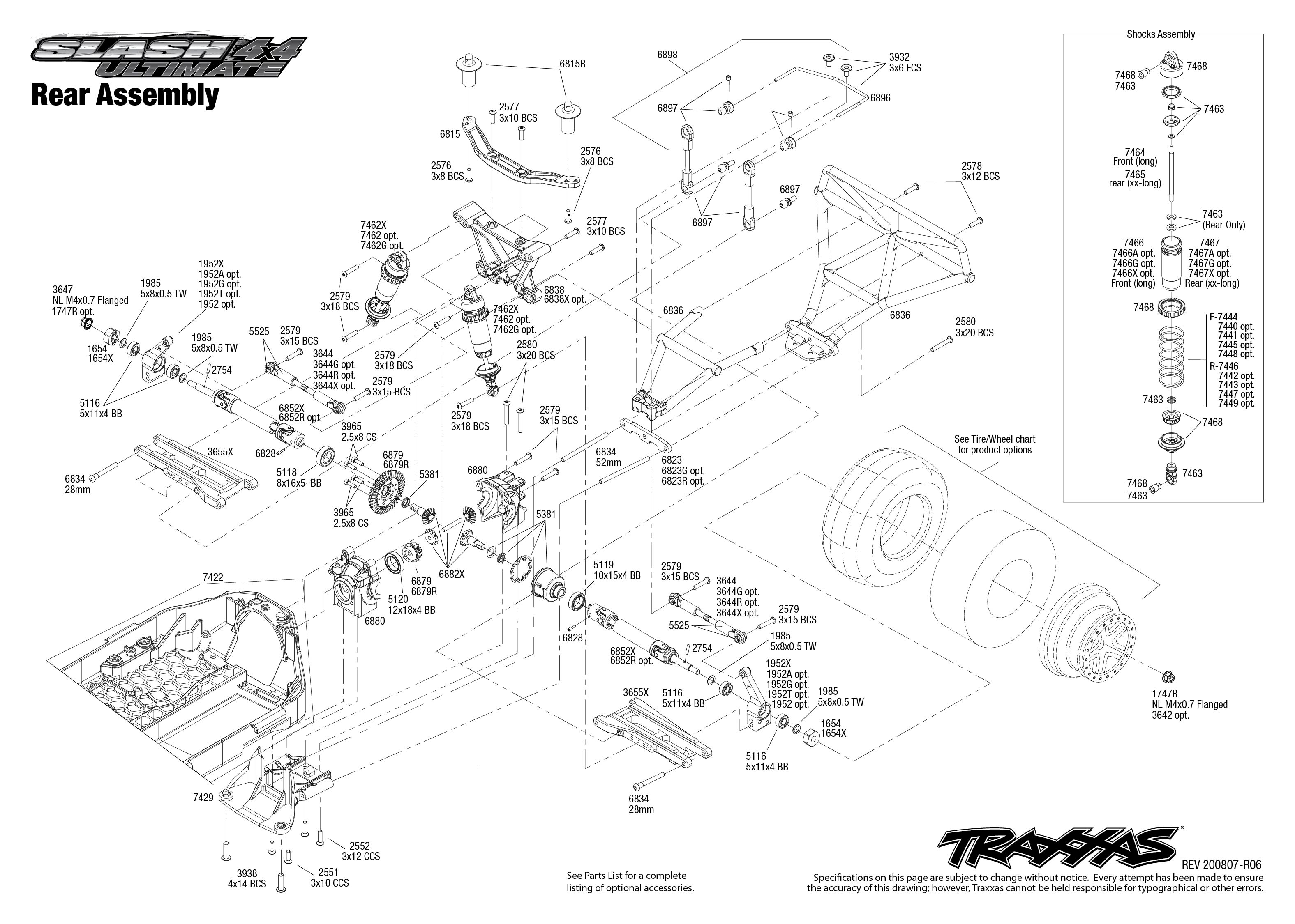 Slash 4X4 Ultimate (68077-24) Rear Assembly Exploded View