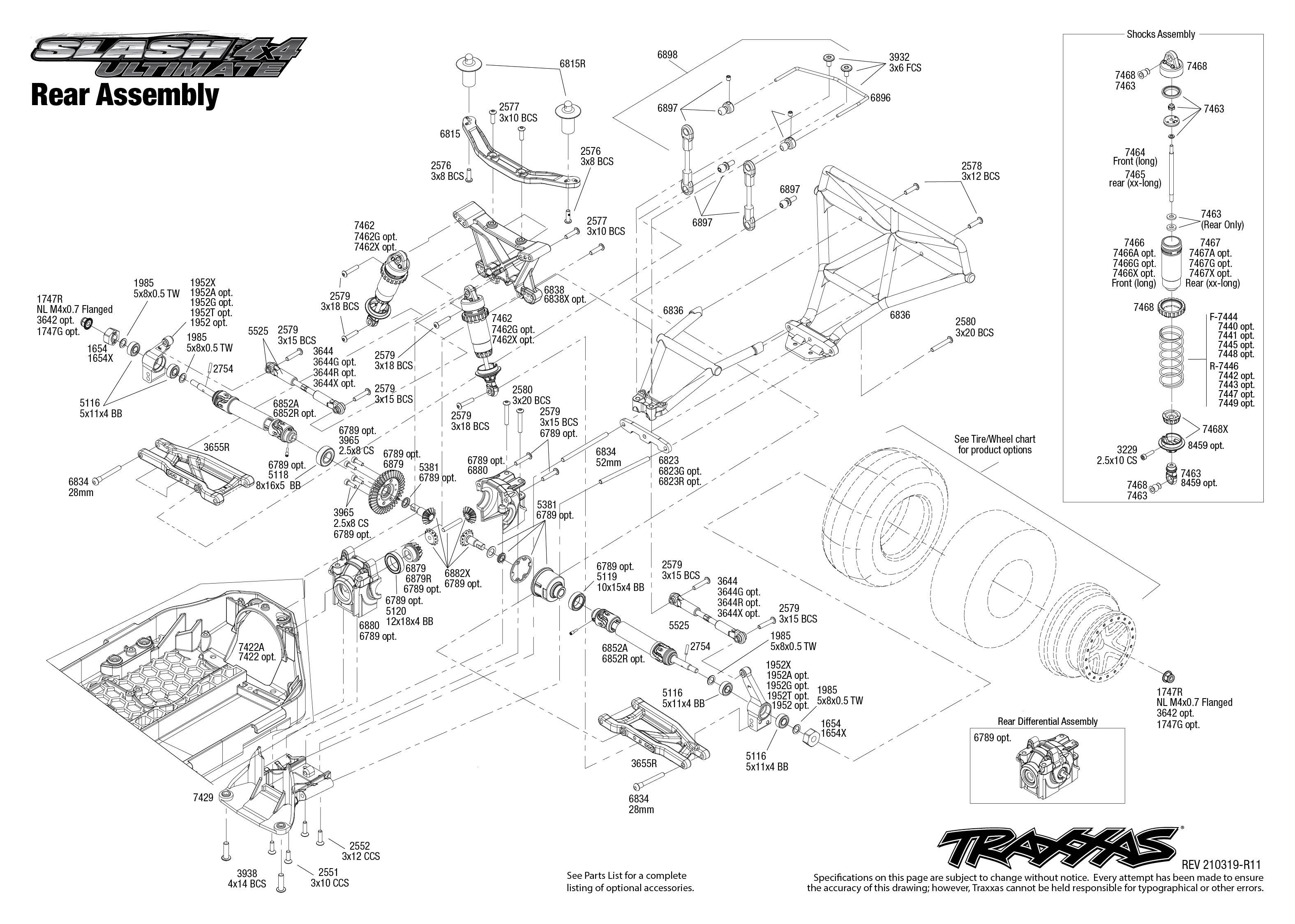 Slash 4X4 Ultimate (68077-4) Rear Assembly Exploded View