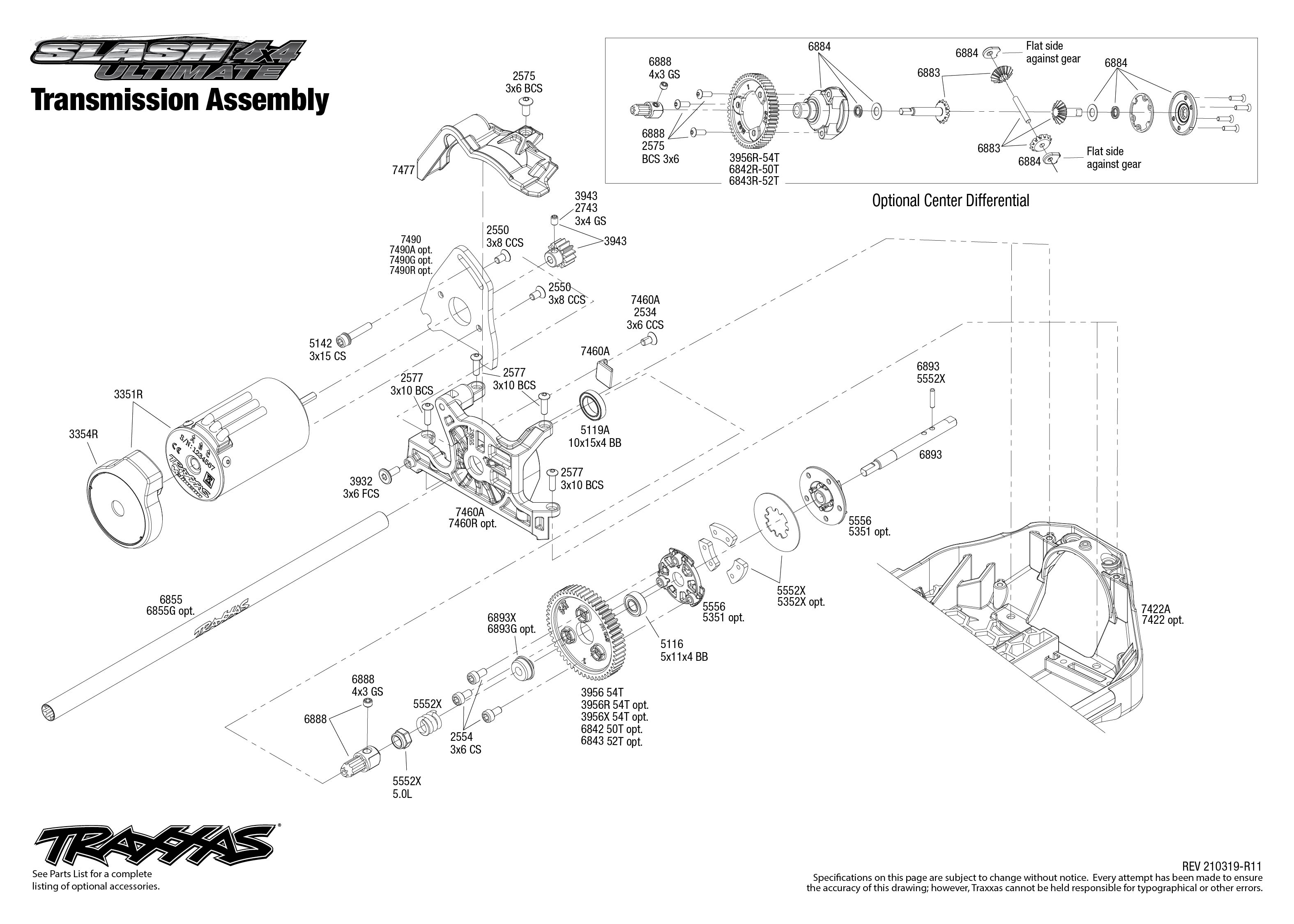 Slash 4X4 Ultimate (68077-4) Transmission Assembly