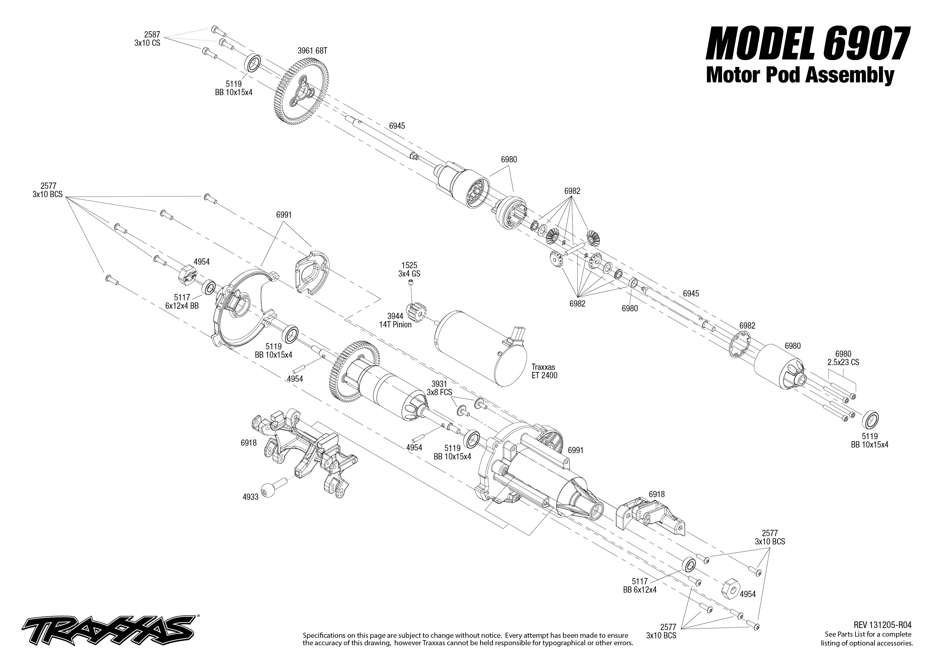 Motor Pod Exploded View Funny Car