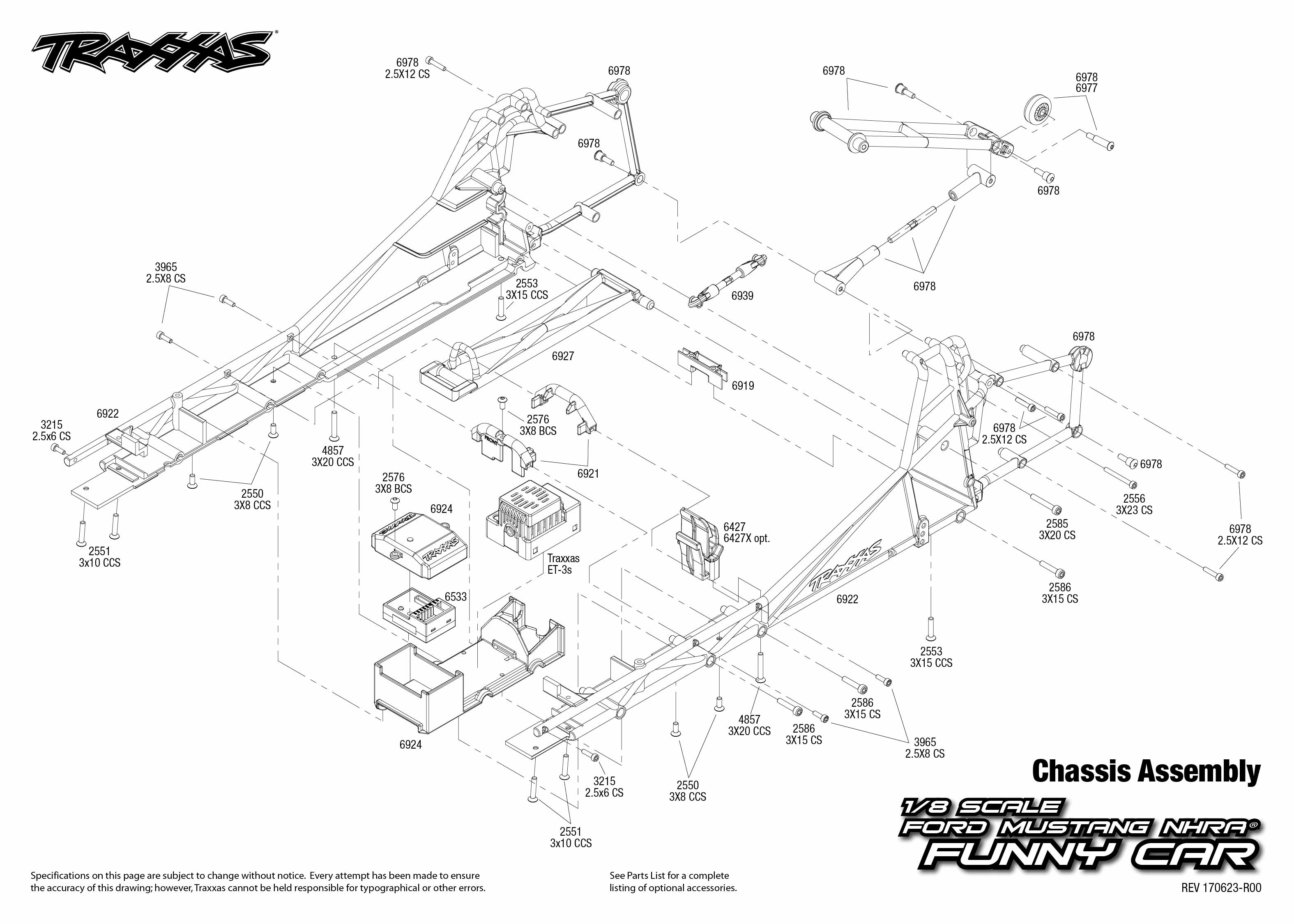 Funny Car 4 Chassis Assembly Exploded View