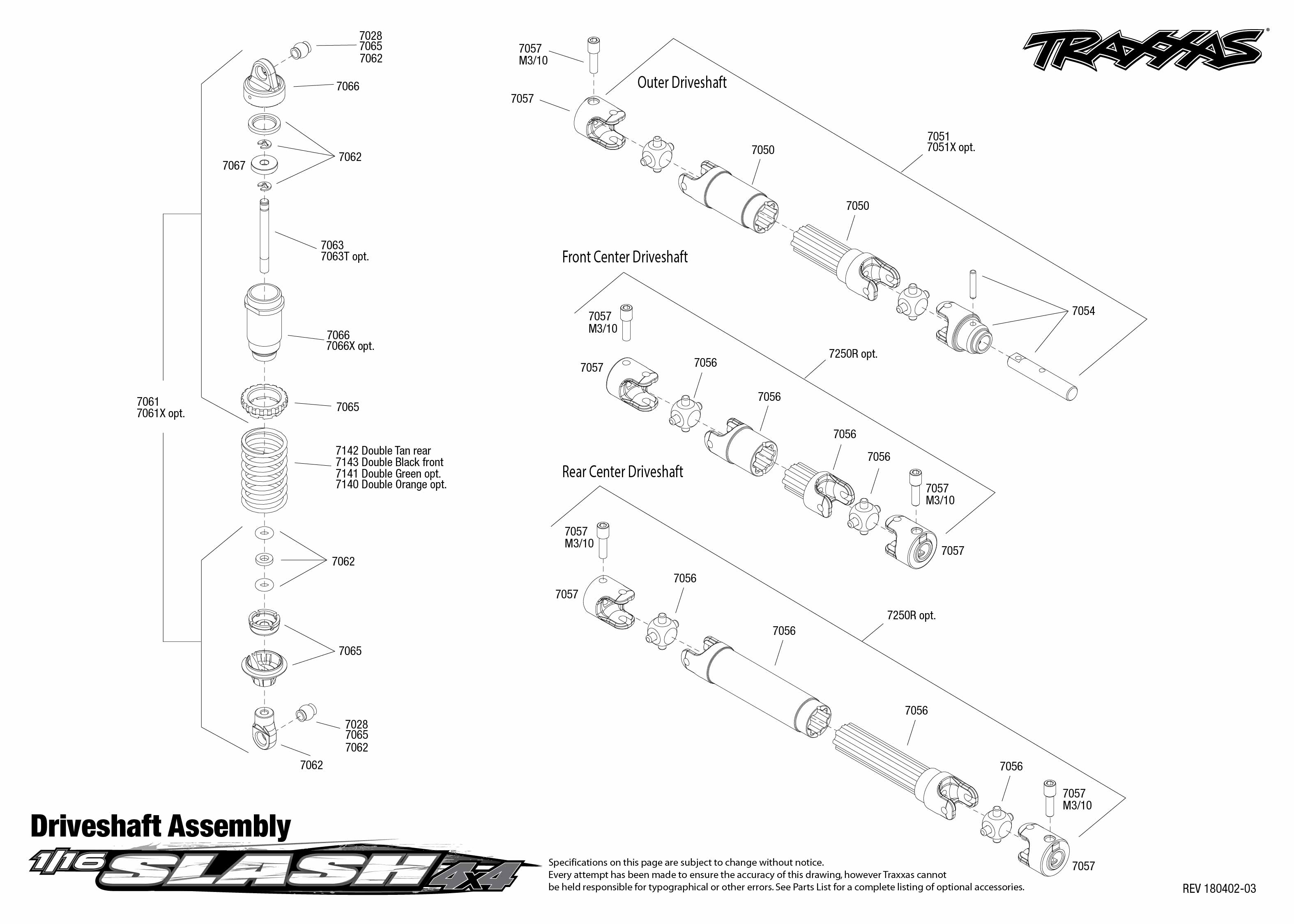 1 16 Slash 4x4 1 Driveshaft Assembly