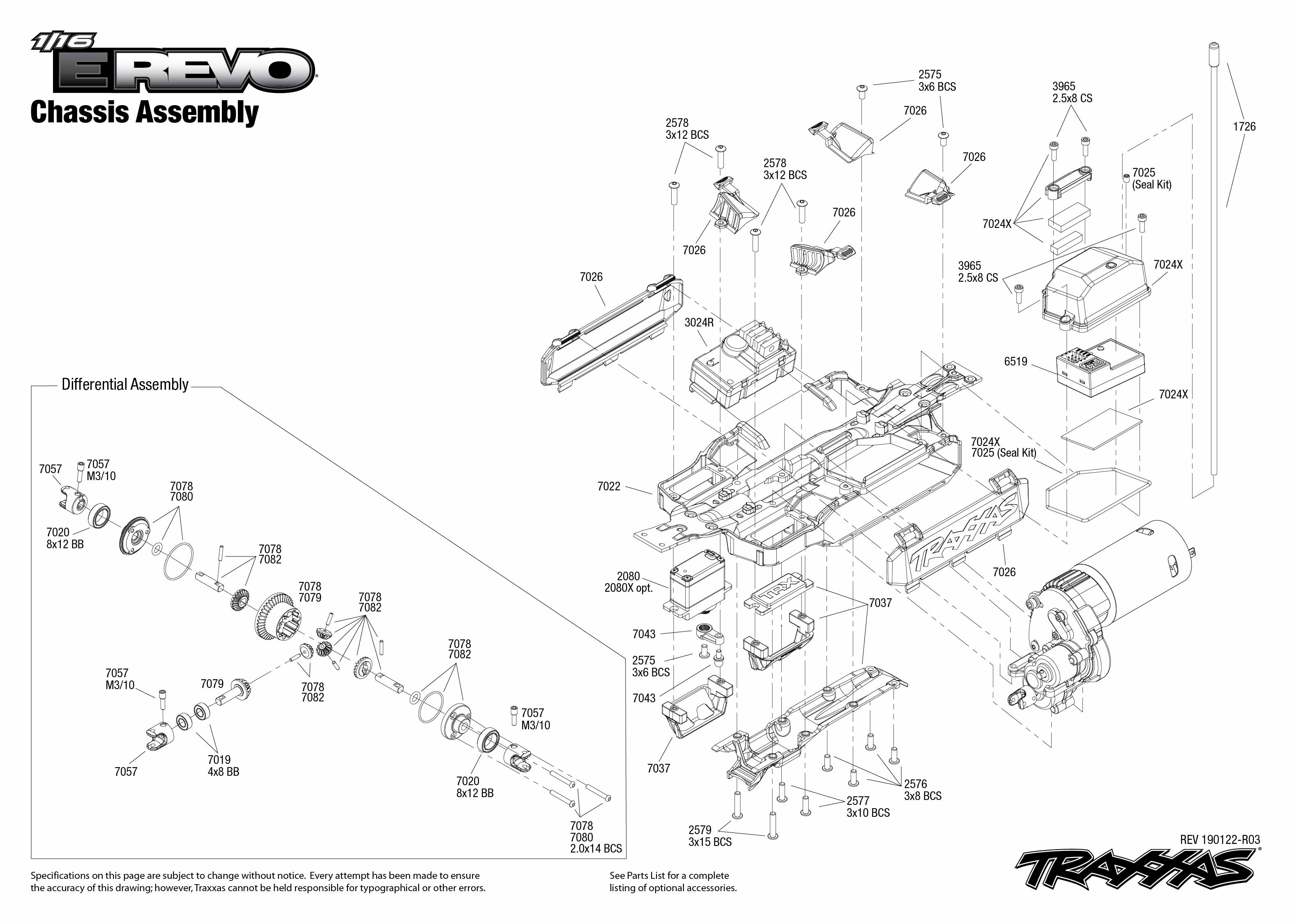 1 16 E Revo 1 Chassis Assembly Exploded View