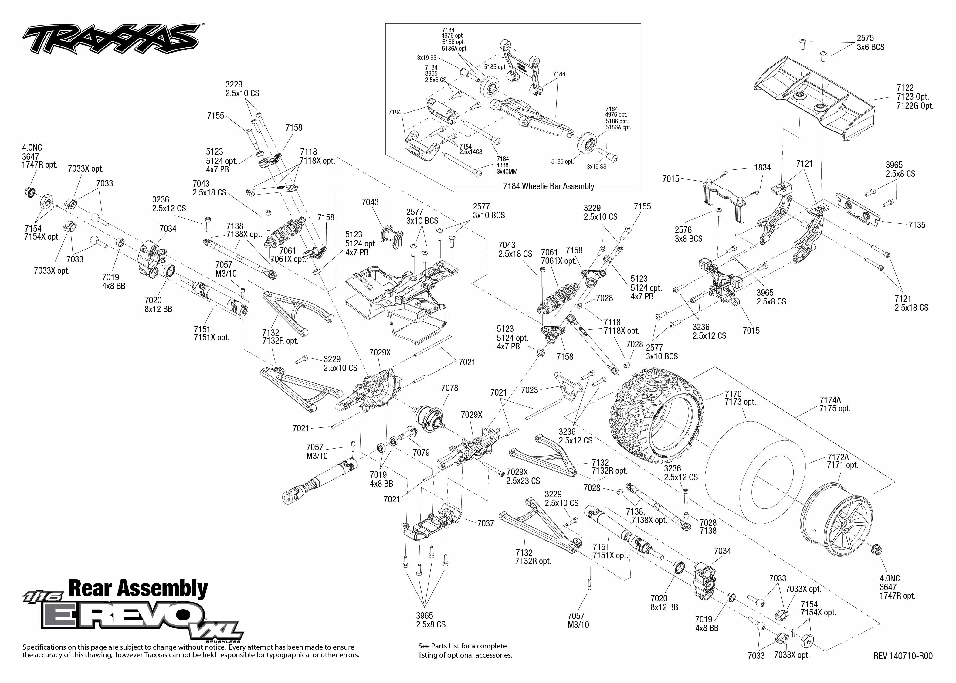1/16 E-Revo VXL (71074-1) Rear Assembly Exploded View