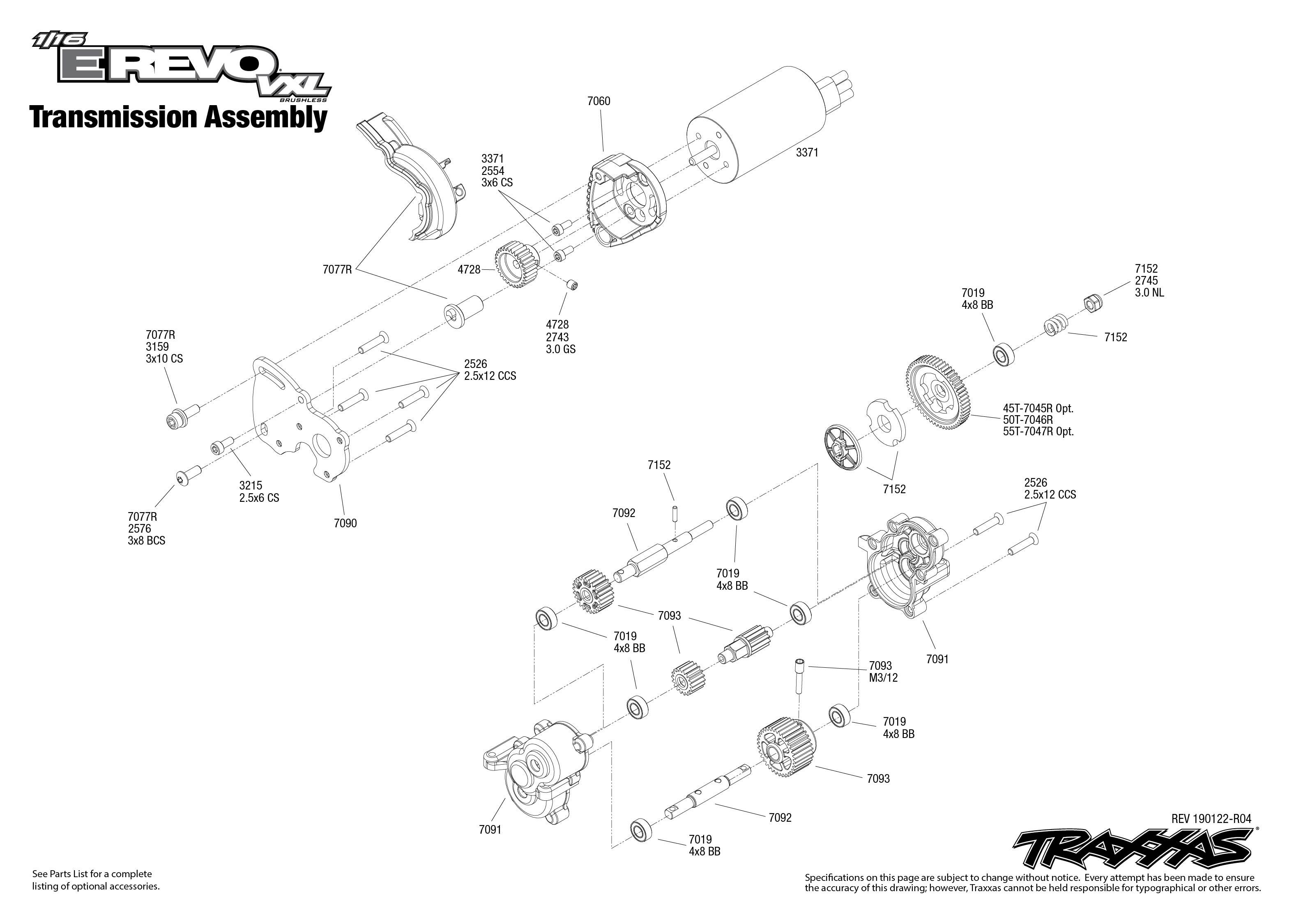 1/16 E-Revo VXL (71076-3) Transmission Assembly Exploded
