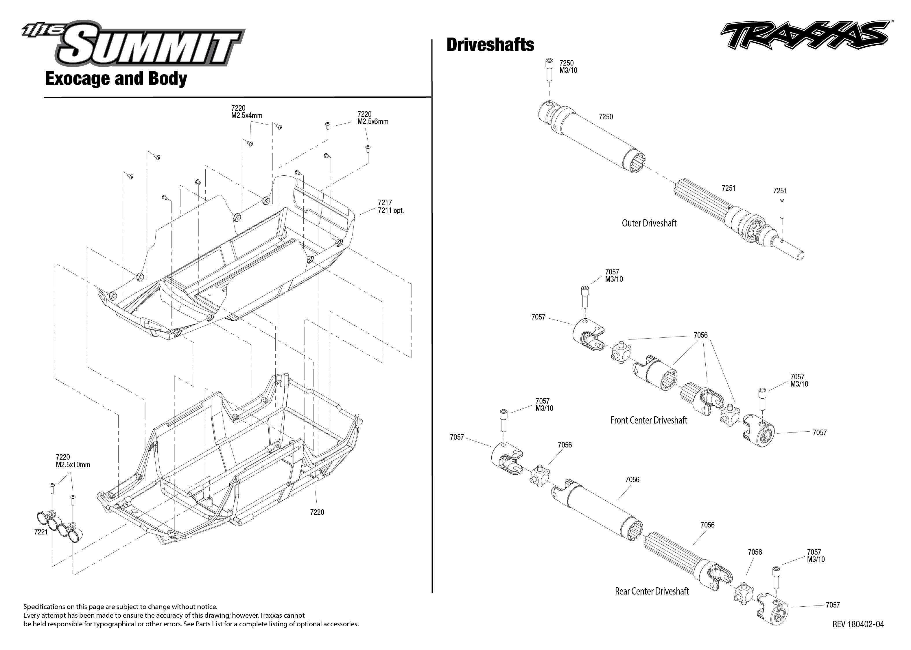 1/16 Summit (72054-5) Driveshafts Assembly Exploded View
