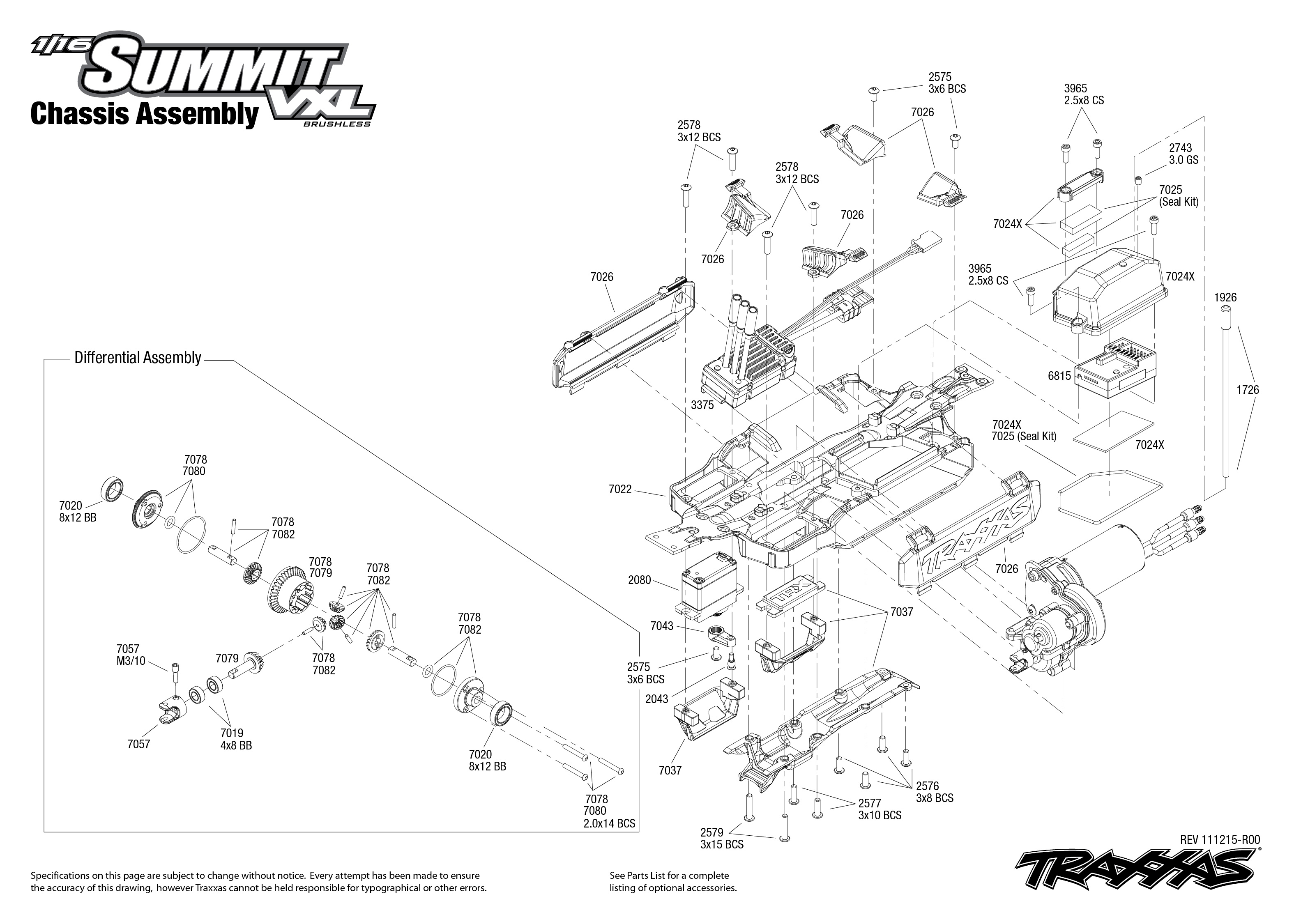 Chassis Exploded View 1 16 Summit With Tqi 2 4ghz Radio