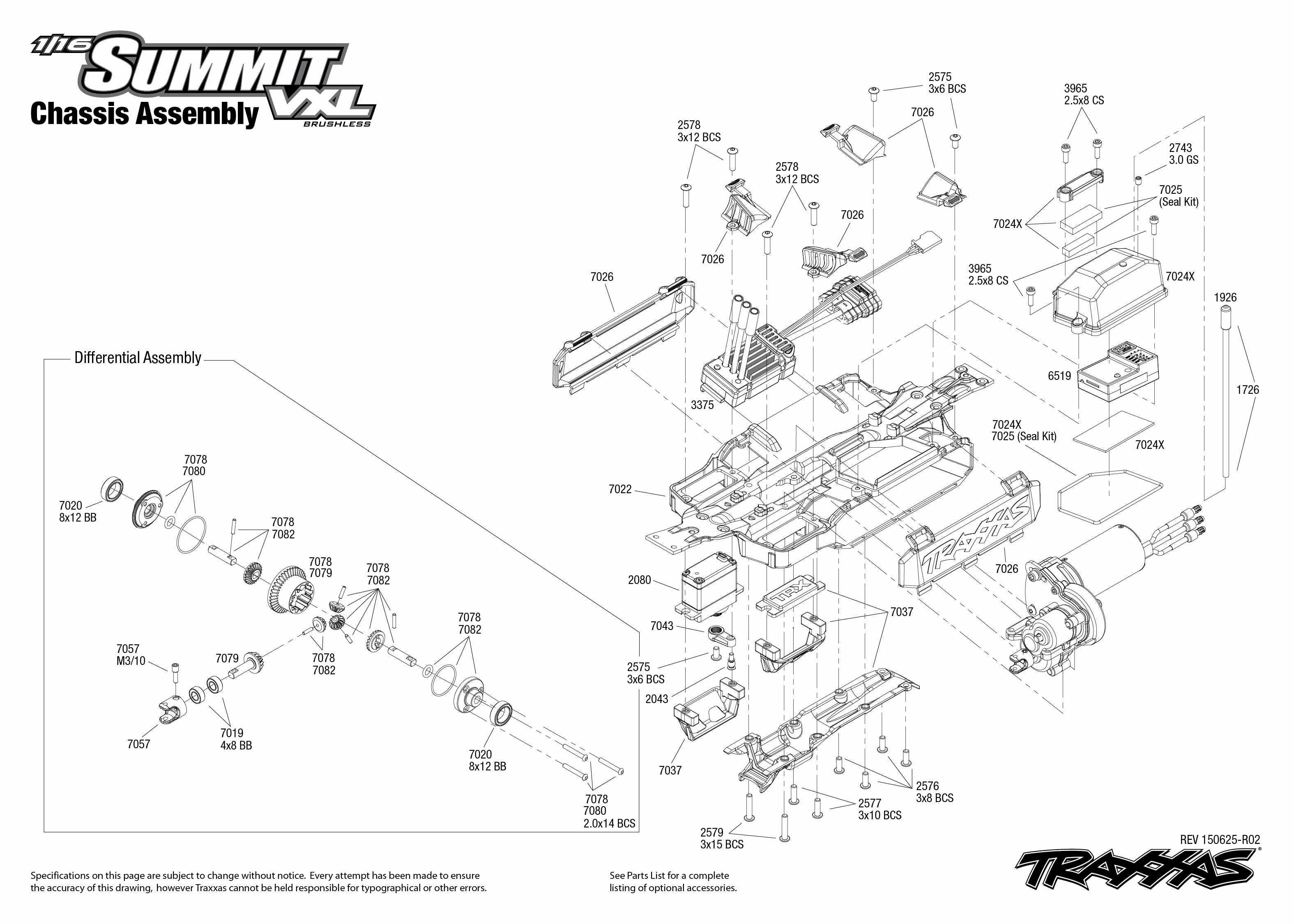 1/16 Summit VXL (72074-1) Chassis Assembly Exploded View