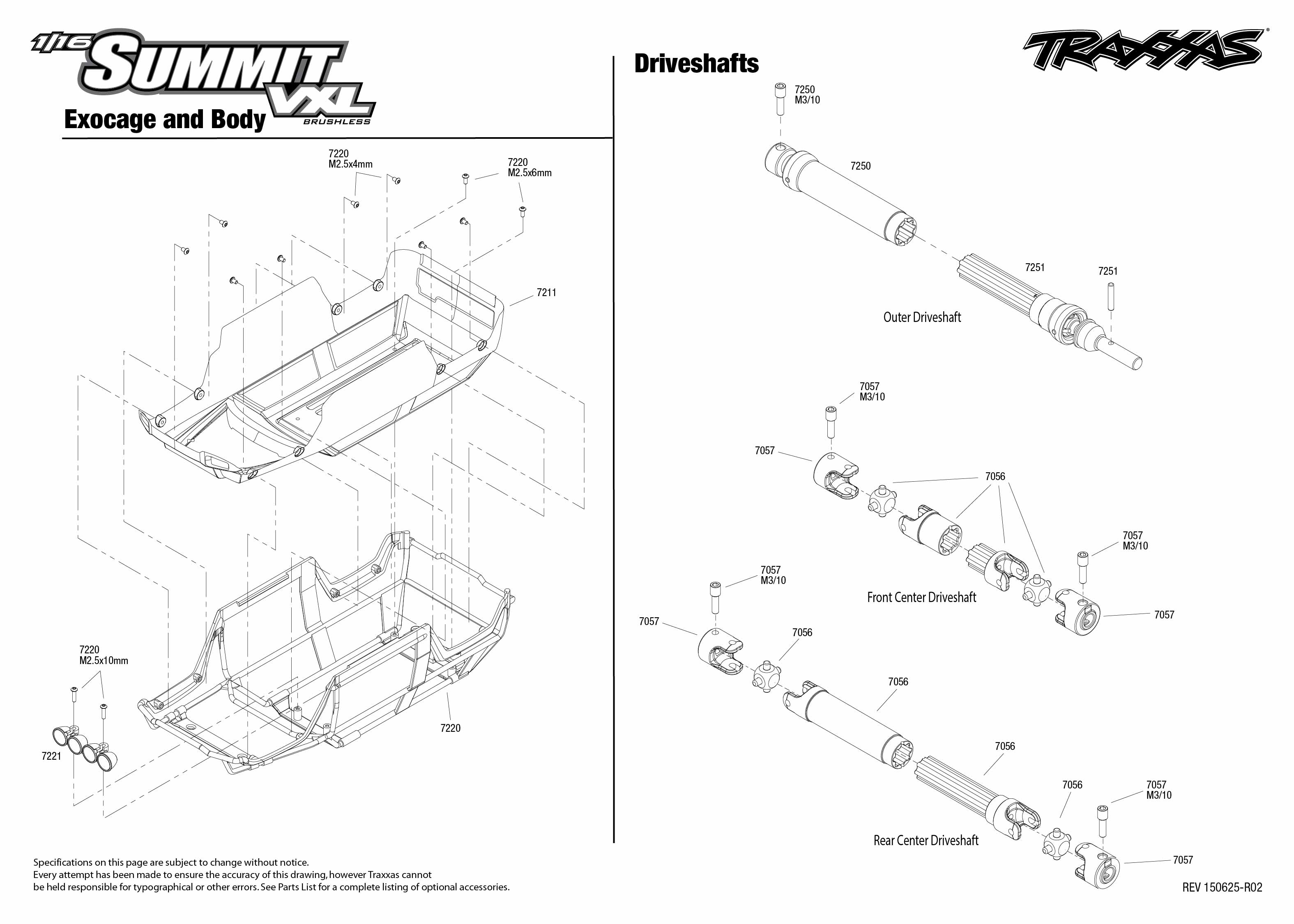 1/16 Summit VXL (72074-1) Driveshafts Assembly Exploded