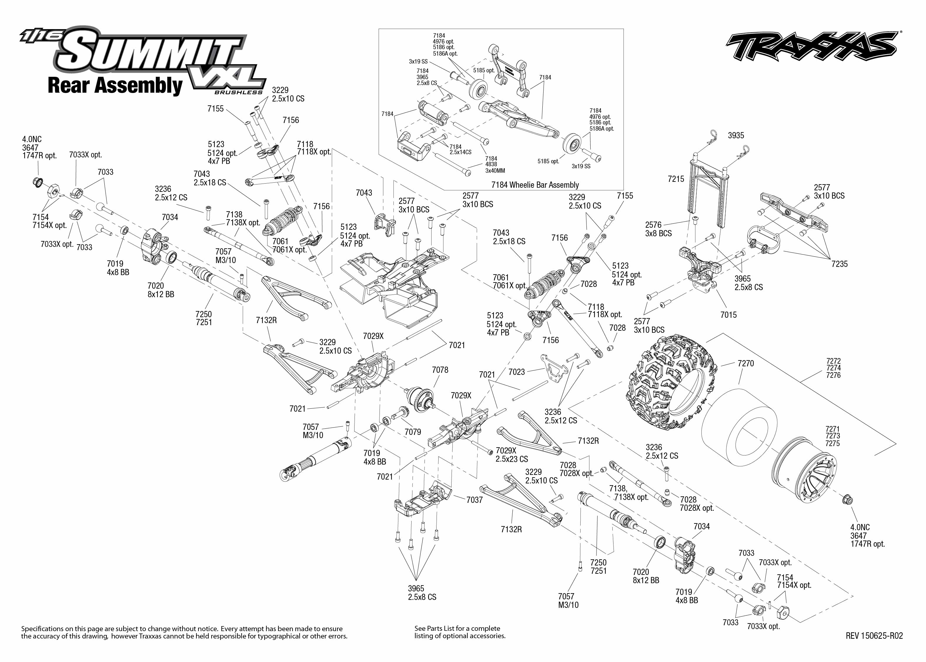 1/16 Summit VXL (72074-1) Rear Assembly Exploded View