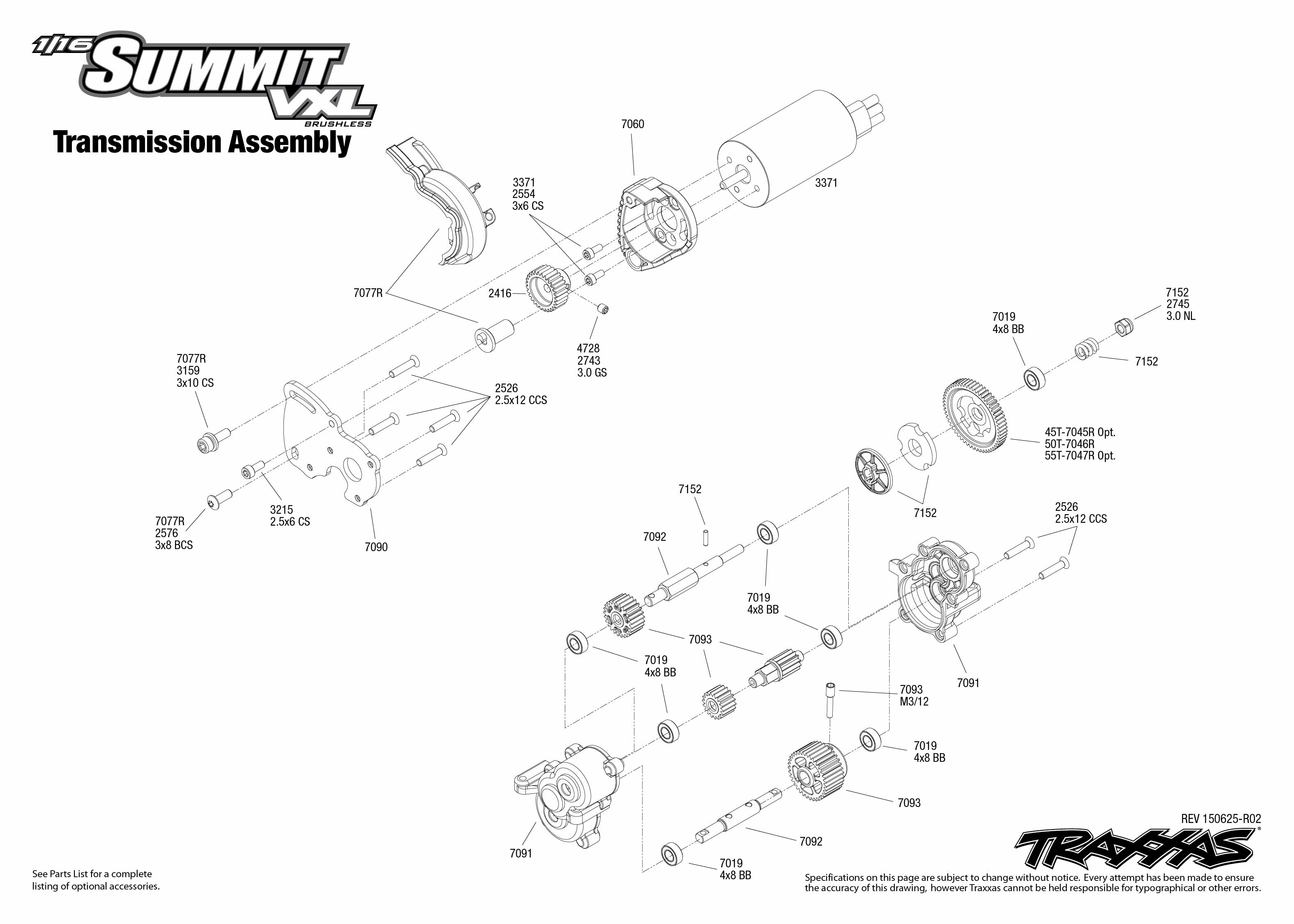 1/16 Summit VXL (72074-1) Transmission Assembly Exploded