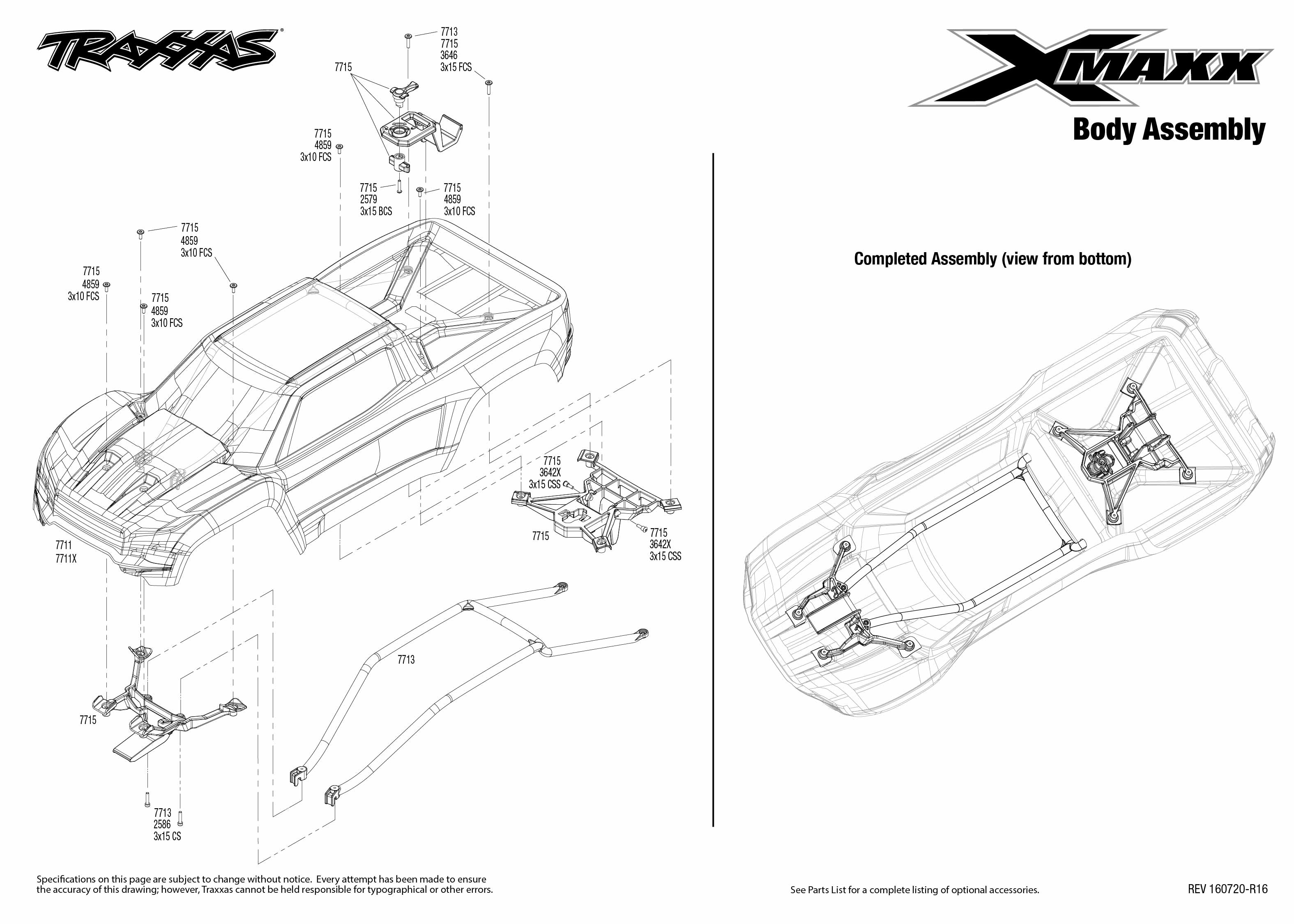 X Maxx 4 Body Assembly Exploded View