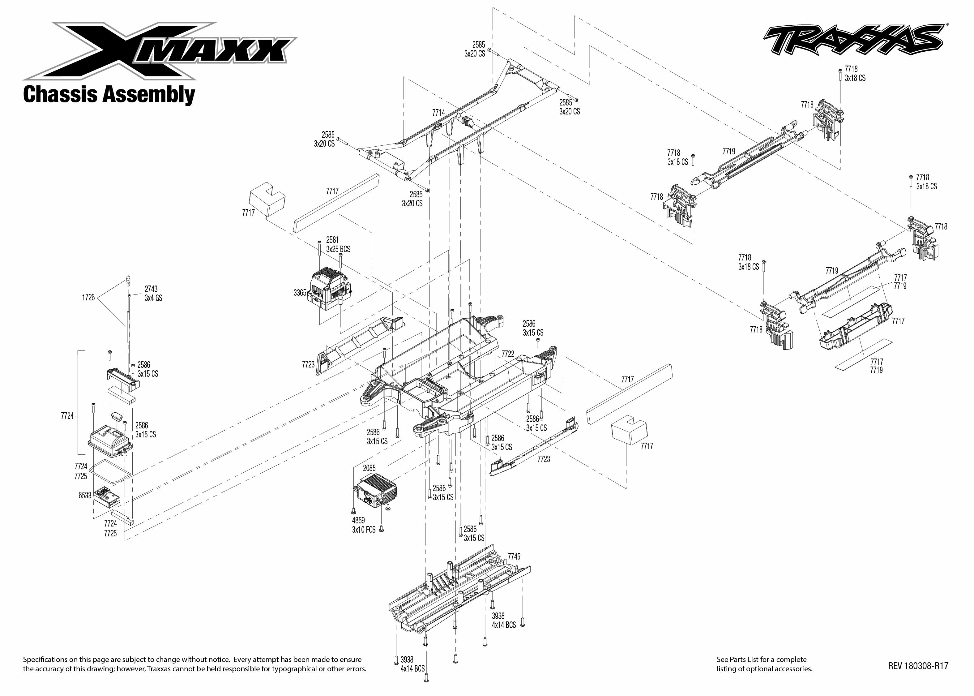 X Maxx 4 Chassis Assembly Exploded View
