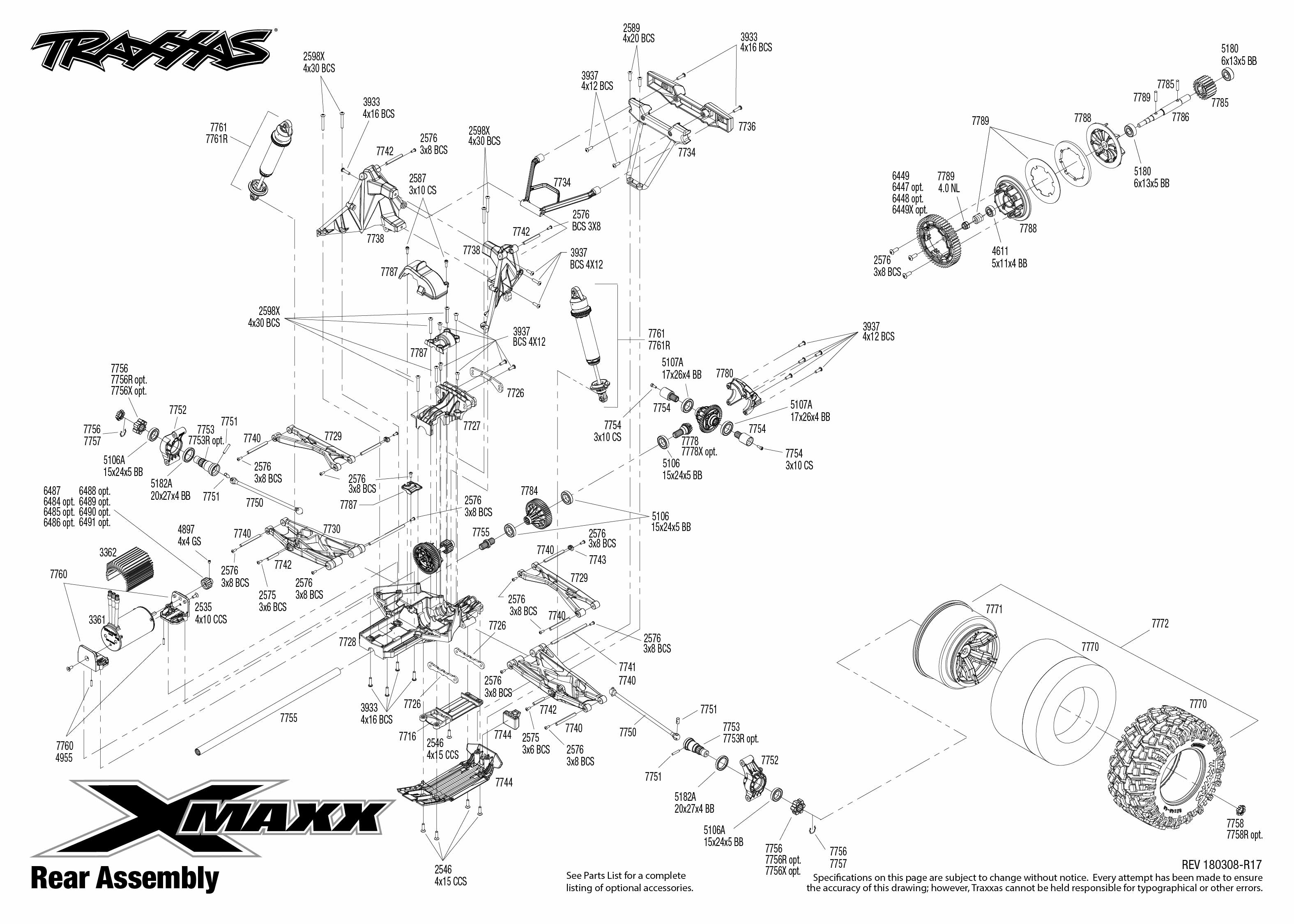 traxxas t maxx 3 parts diagram pontiac sunfire stereo wiring x 77076 4 rear assembly exploded view
