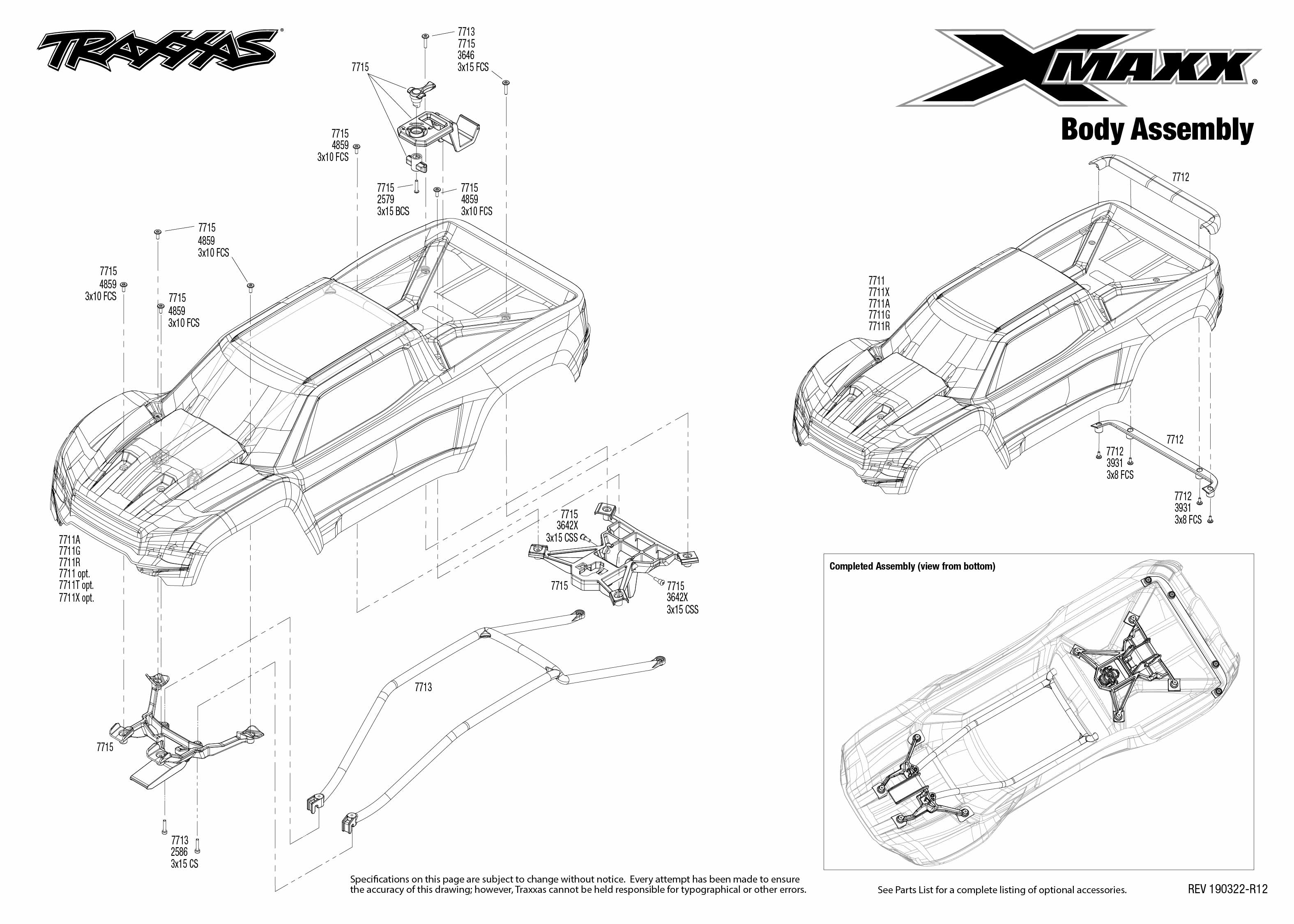 X Maxx 8s 4 Body Assembly Exploded View