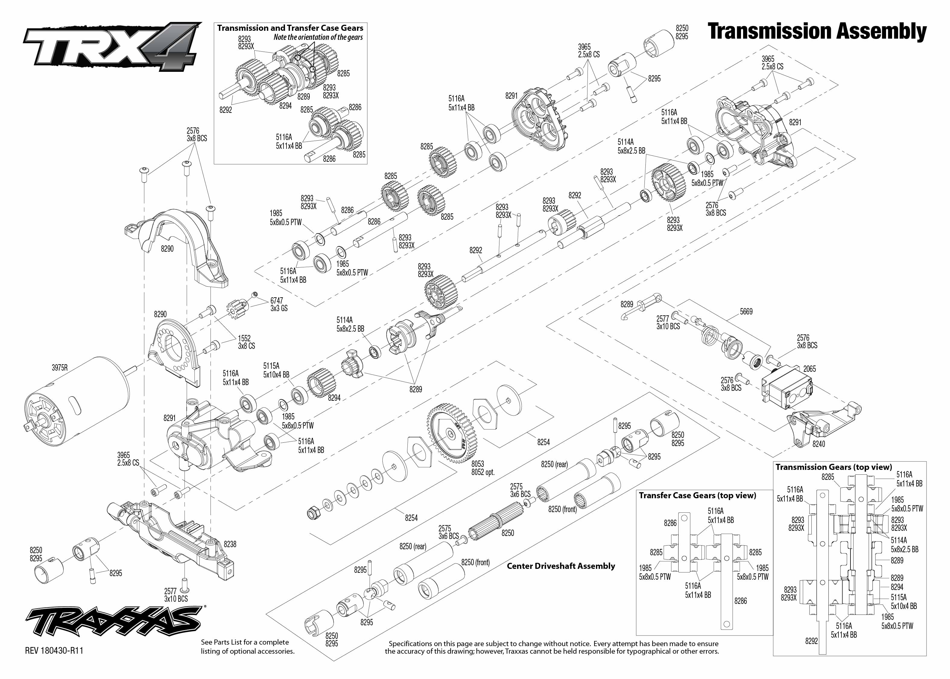 Trx 4 Scale And Trail Crawler 4 Transmission Assembly Exploded View
