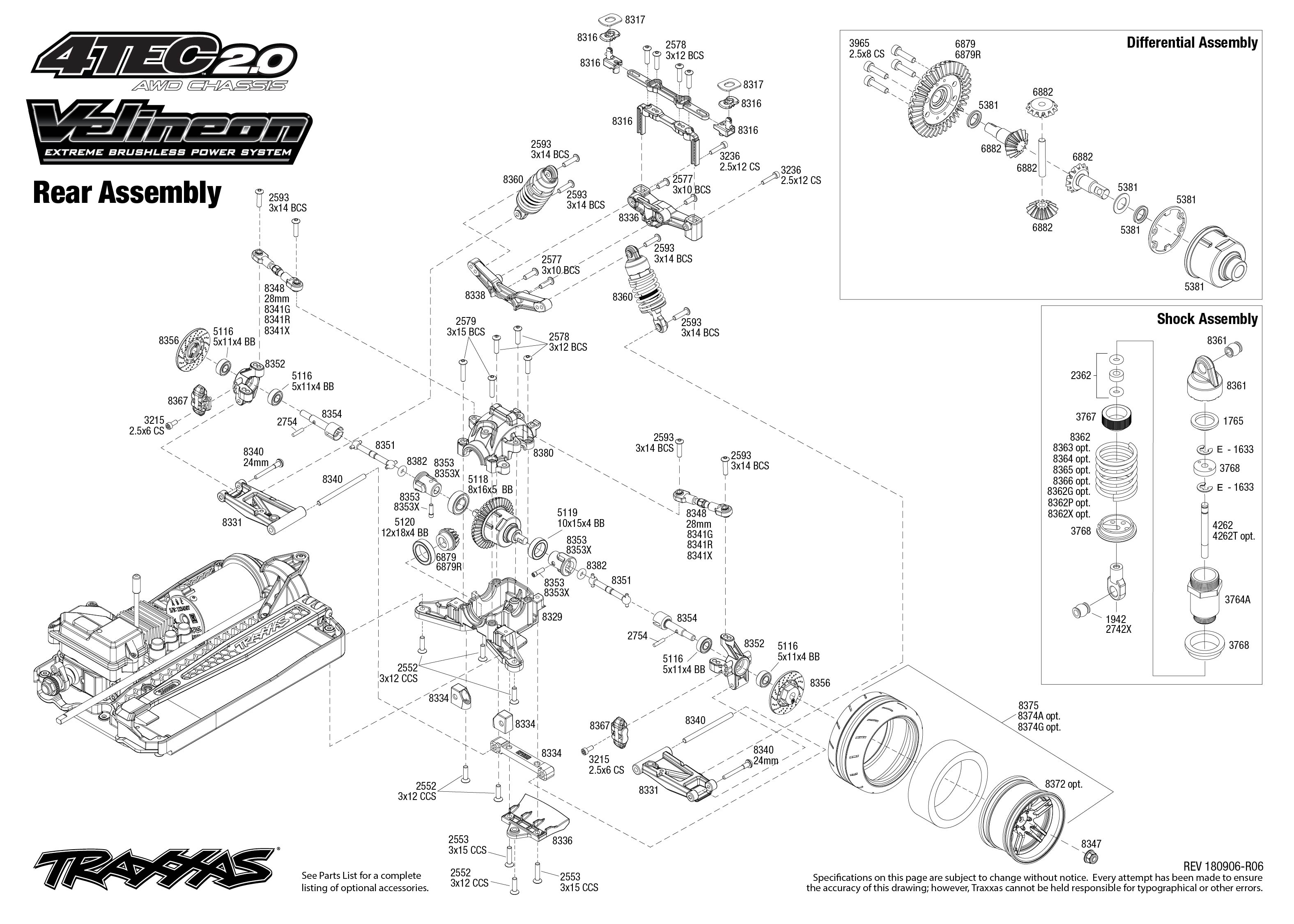4 Tec 2 0 Vxl 4 Rear Assembly Exploded View