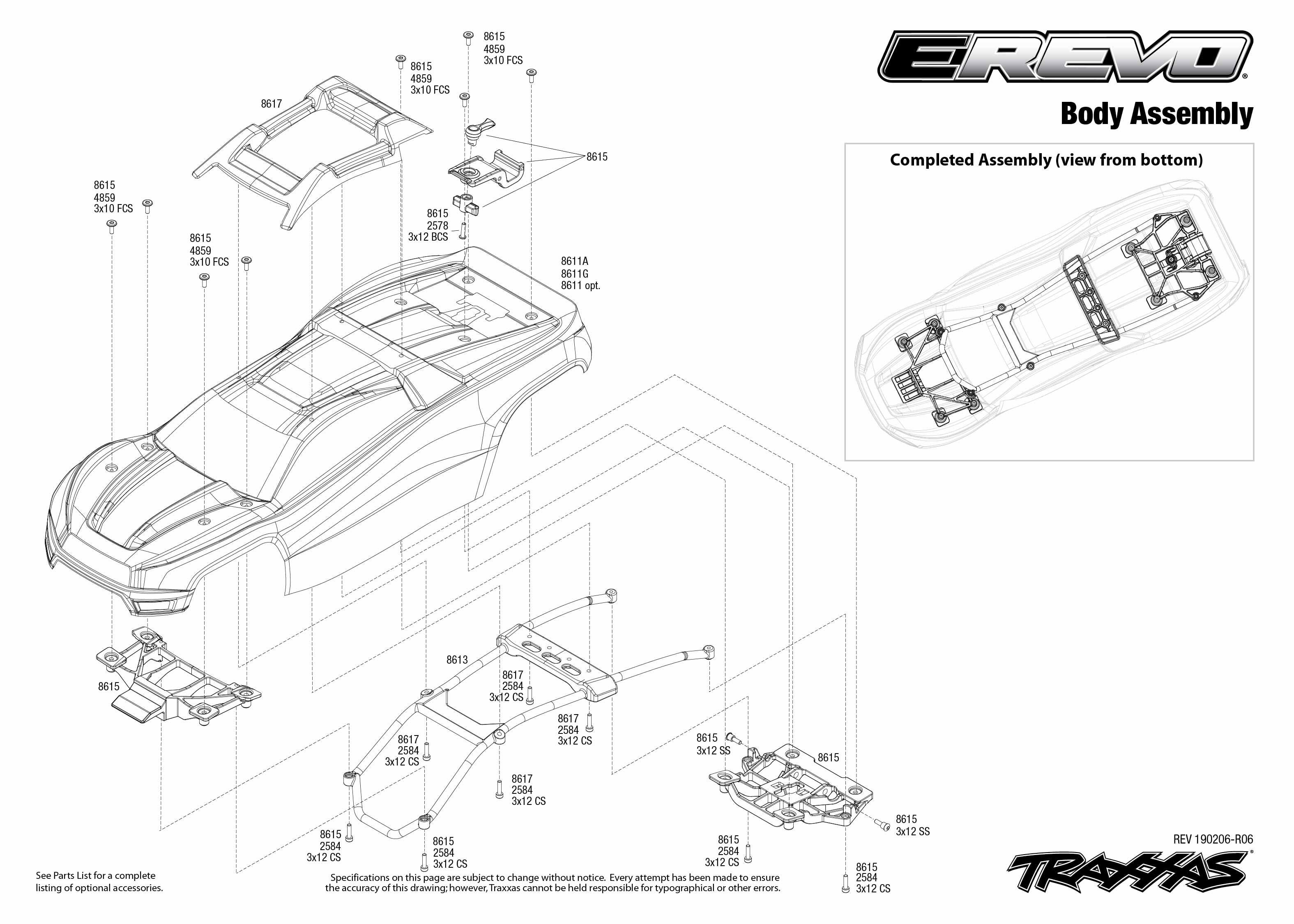 E-Revo VXL Brushless (86086-4) Body Assembly Exploded View