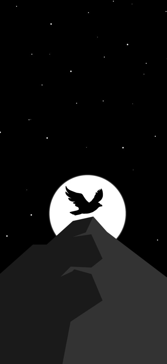 Mountain Moon Dark Night Amoled Real Mobile Wallpapers Download