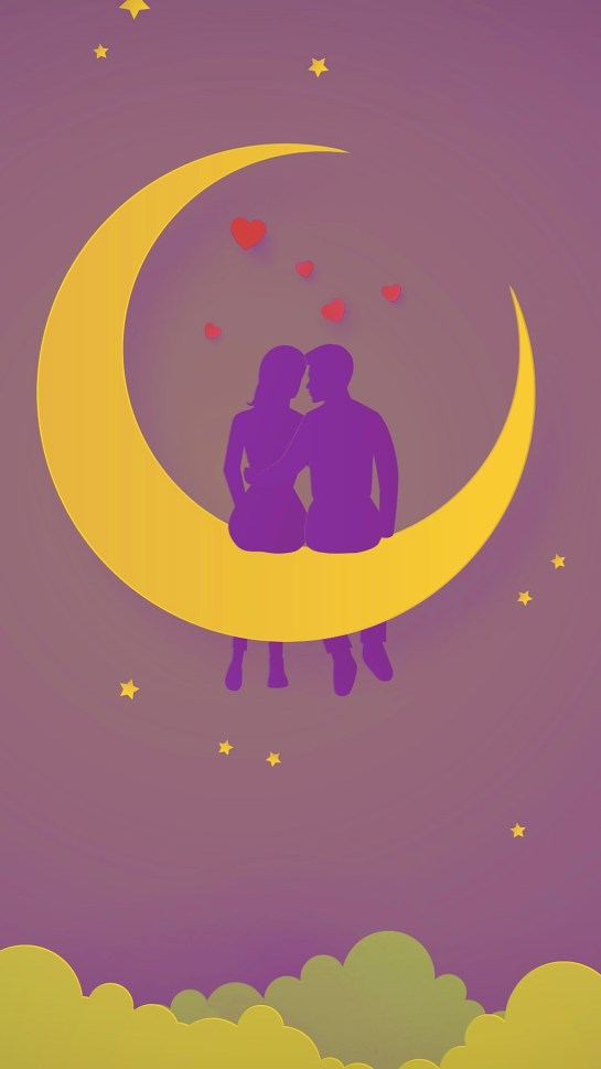 Romantic Couples Love Illustration Moon HD Android Wallpapers Download