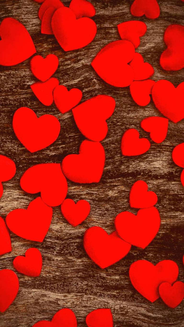 Hearts on Wooden Background Xiaomi Mi Note 10 Wallpapers